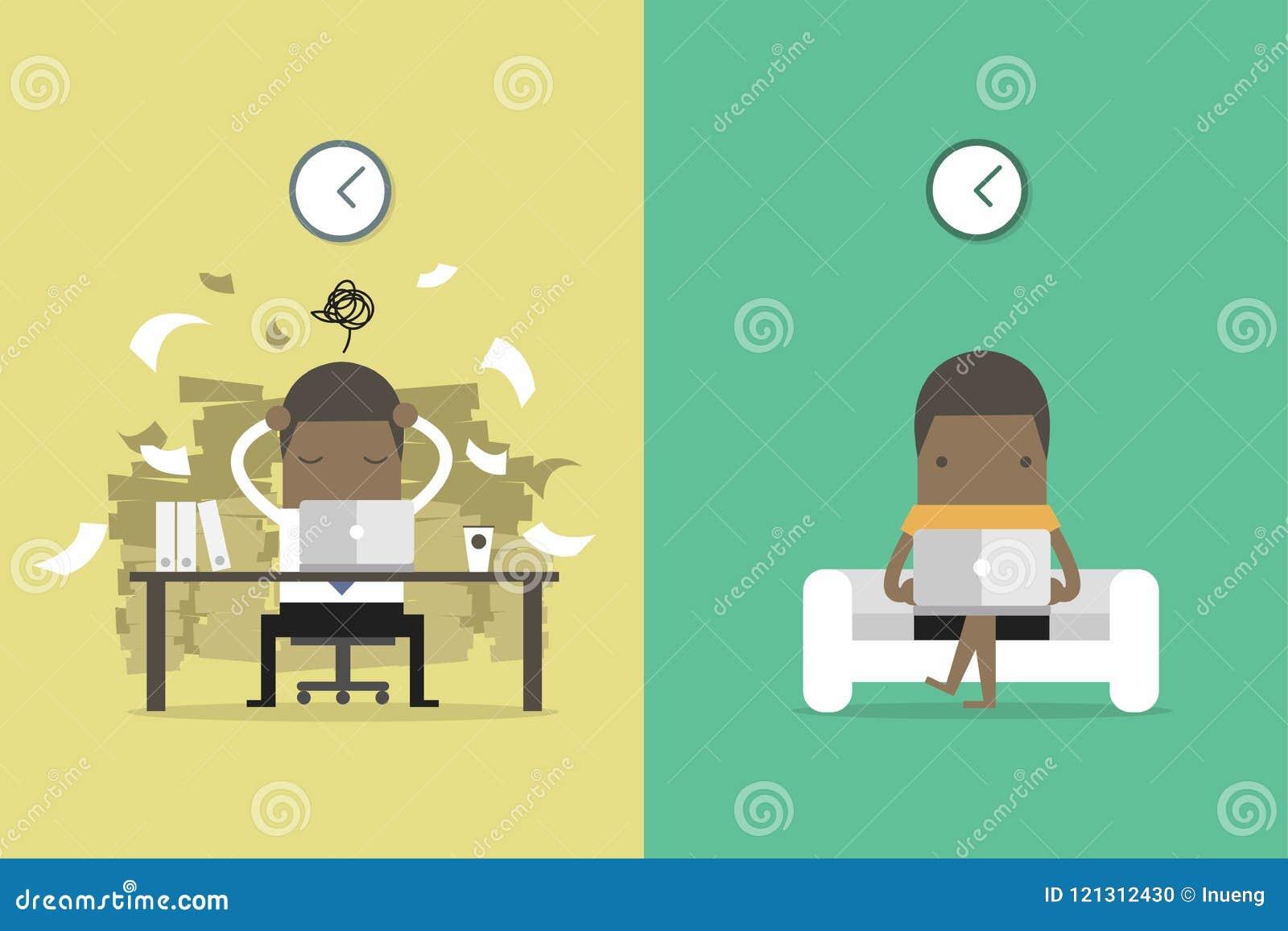 非洲商人从其他人民得到反馈 非洲商人和自由职业者的生活 企业概念动画片