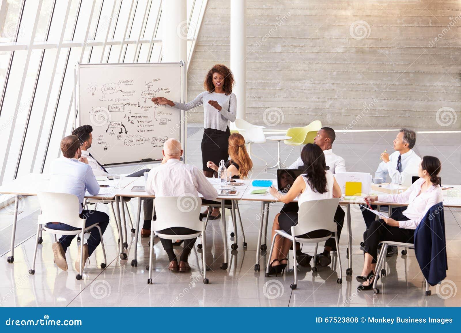 非裔美国人的女实业家带领会议室会议