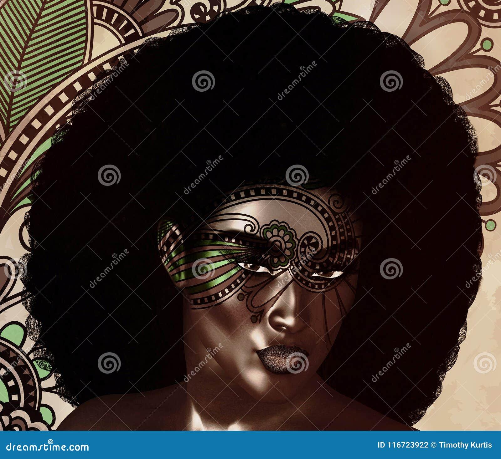 非裔美国人的时尚秀丽,时髦蓬松卷发发型