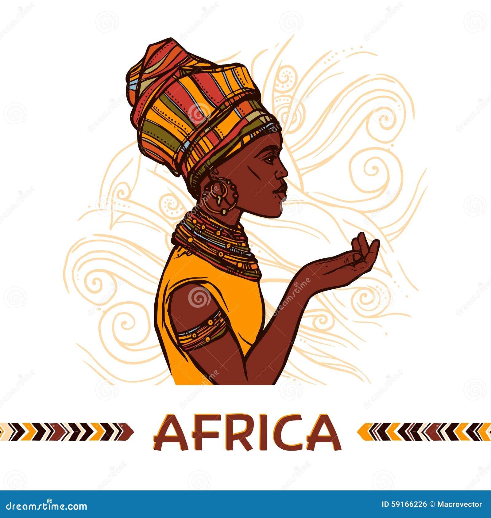 在抽象装饰背景传染媒介例证的非洲妇女剪影外形画象.