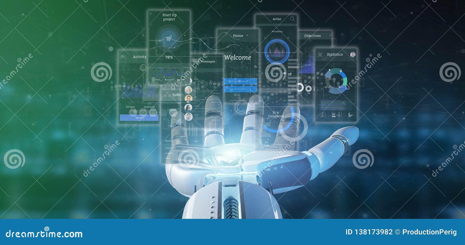 靠机械装置维持生命的人手藏品有象、stats和数据3d翻译的用户界面屏幕