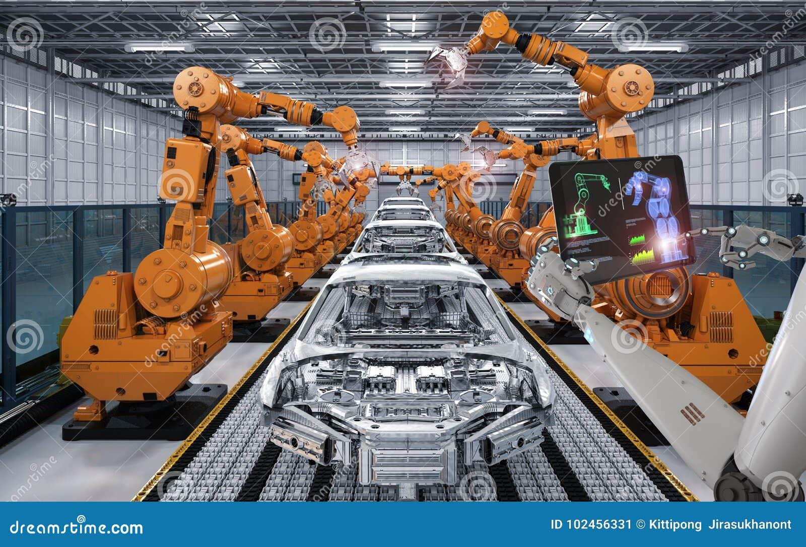 靠机械装置维持生命的人控制机器人装配线