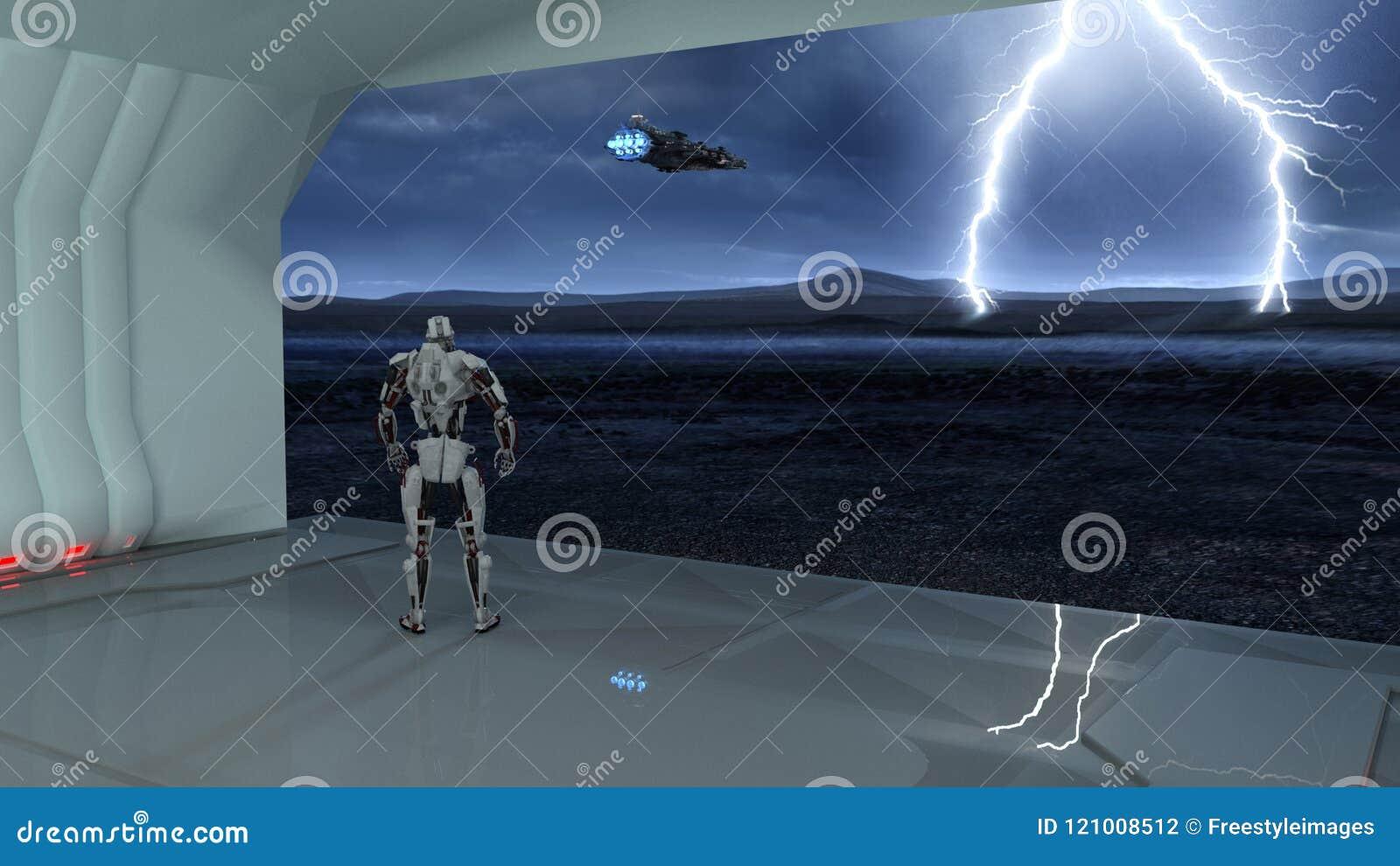 靠机械装置维持生命的人,在货舱的有人的特点的机器人观看太空飞船飞行入在离开的行星,机械机器人, 3D的一场风暴回报