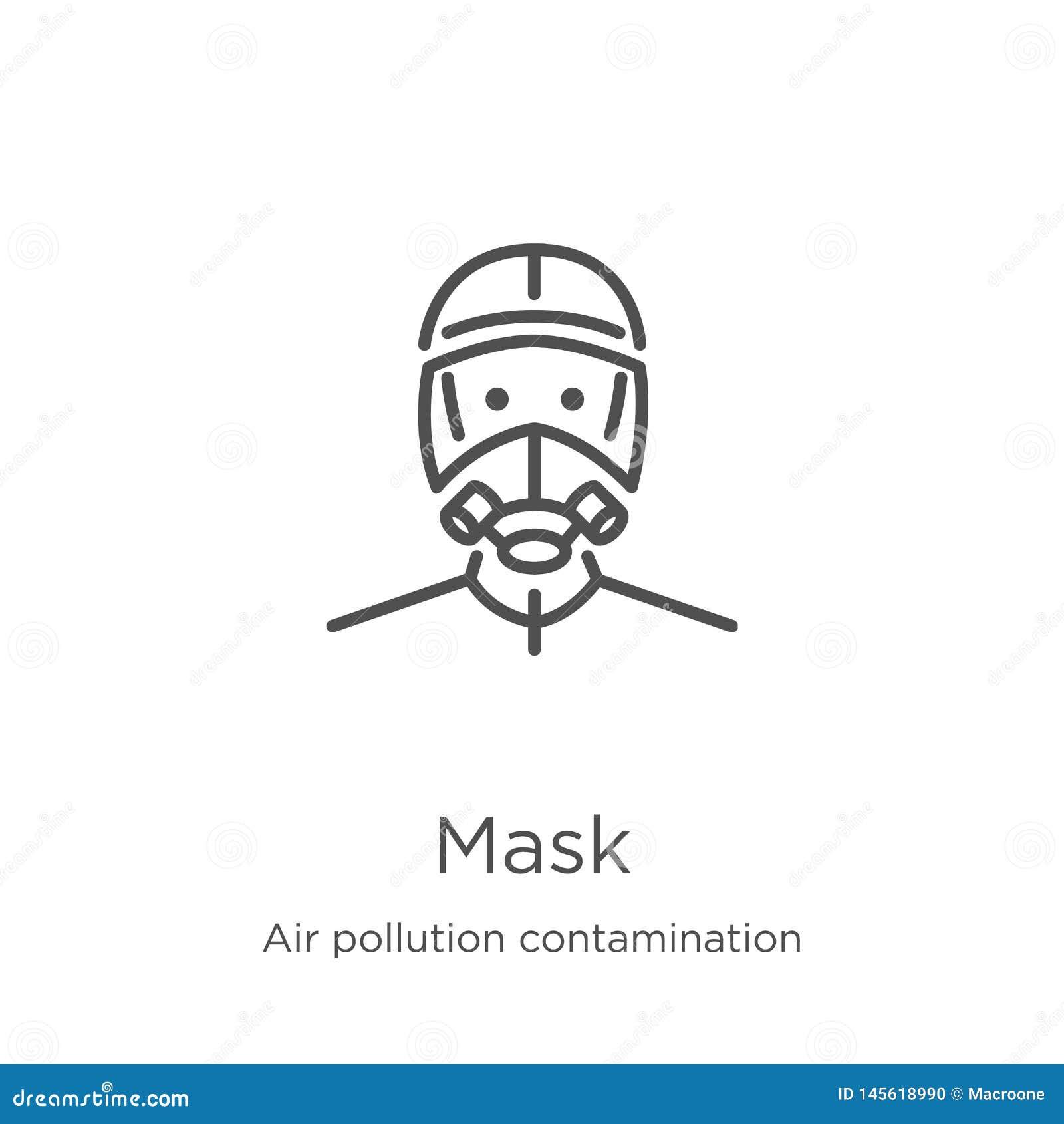 面具从空气污染污秽汇集的象传染媒介 稀薄的线面具概述象传染媒介例证 概述,稀薄的线