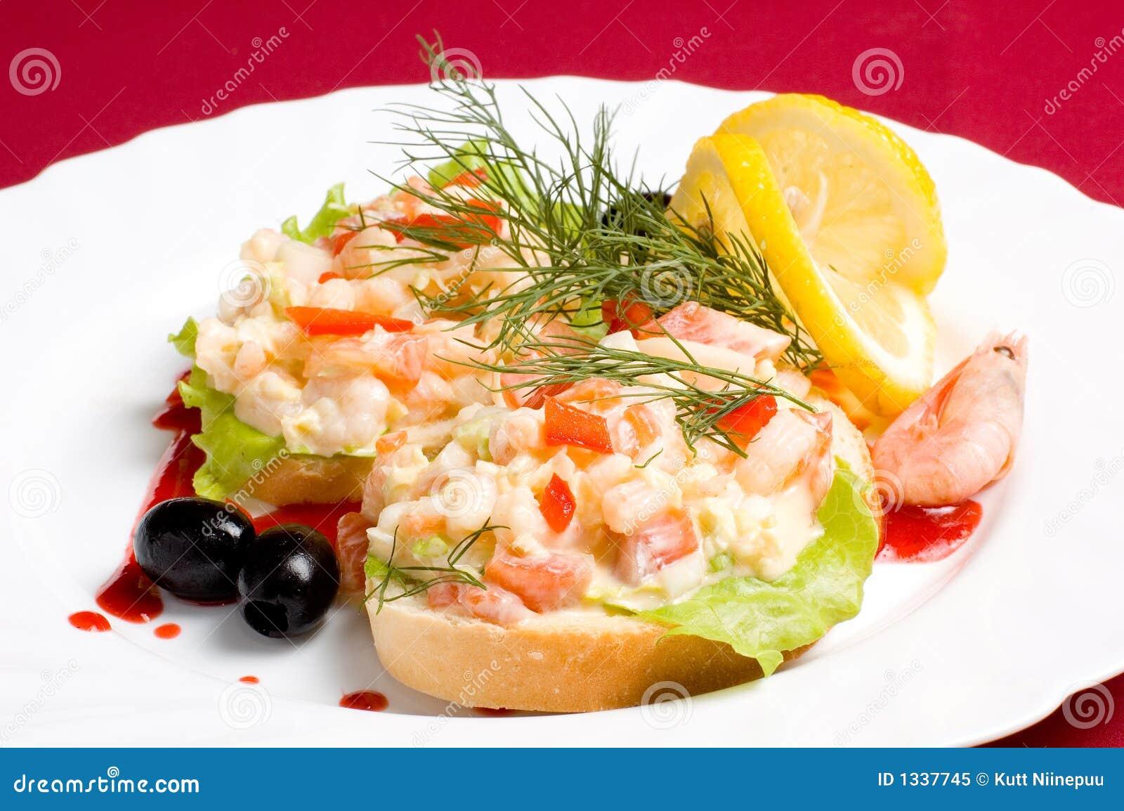 面包沙拉虾片式