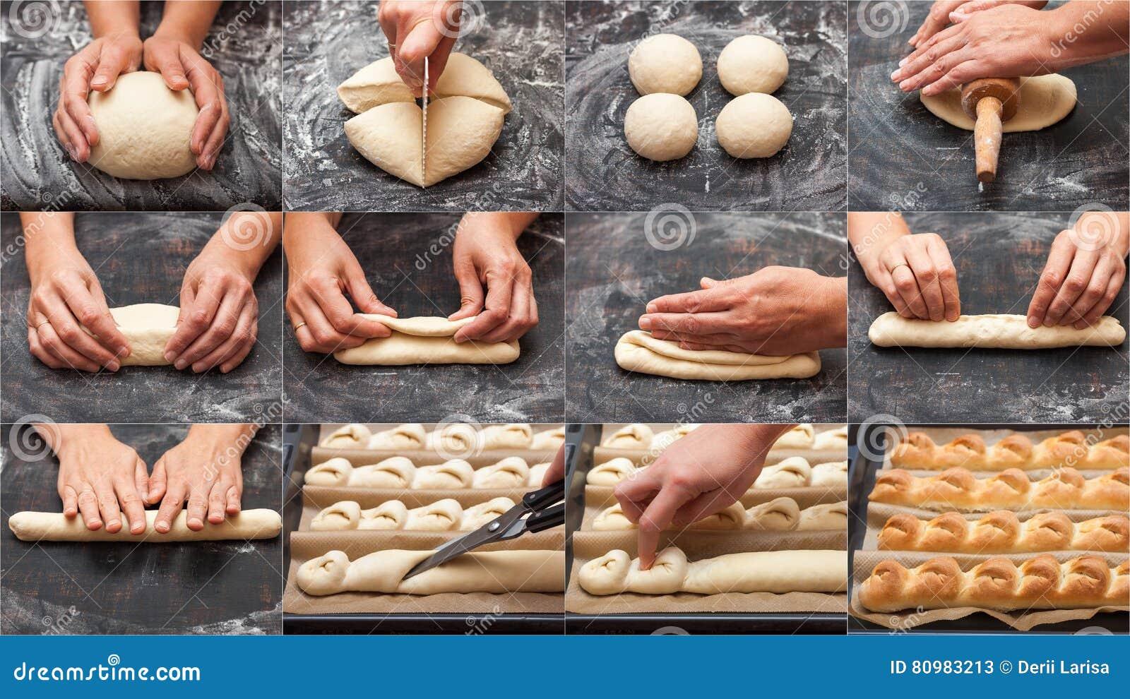 面包的逐步的准备 法国长方形宝石 烹调做的面包意味 拼贴画