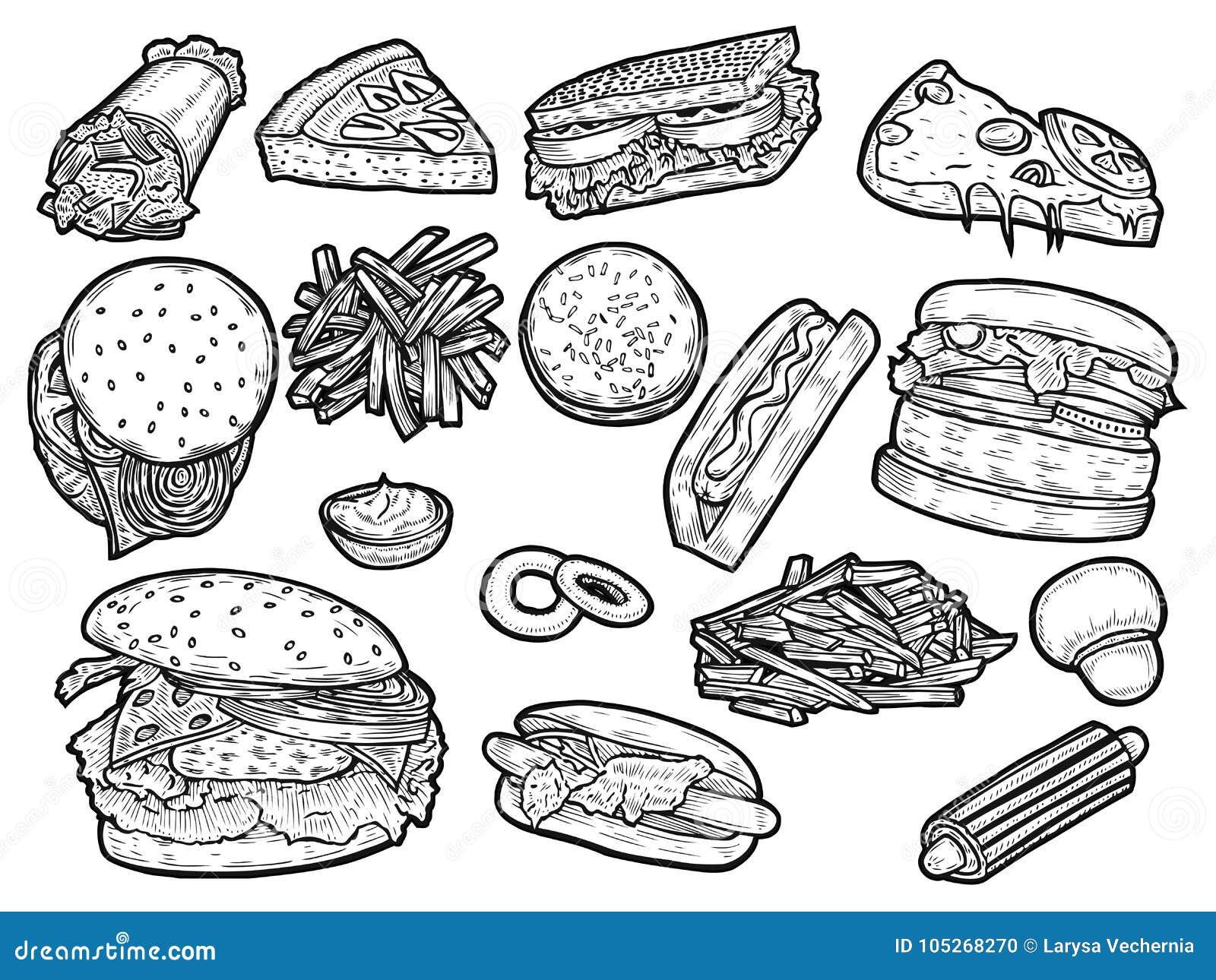 面卷饼快餐kebab饼集合炸玉米饼
