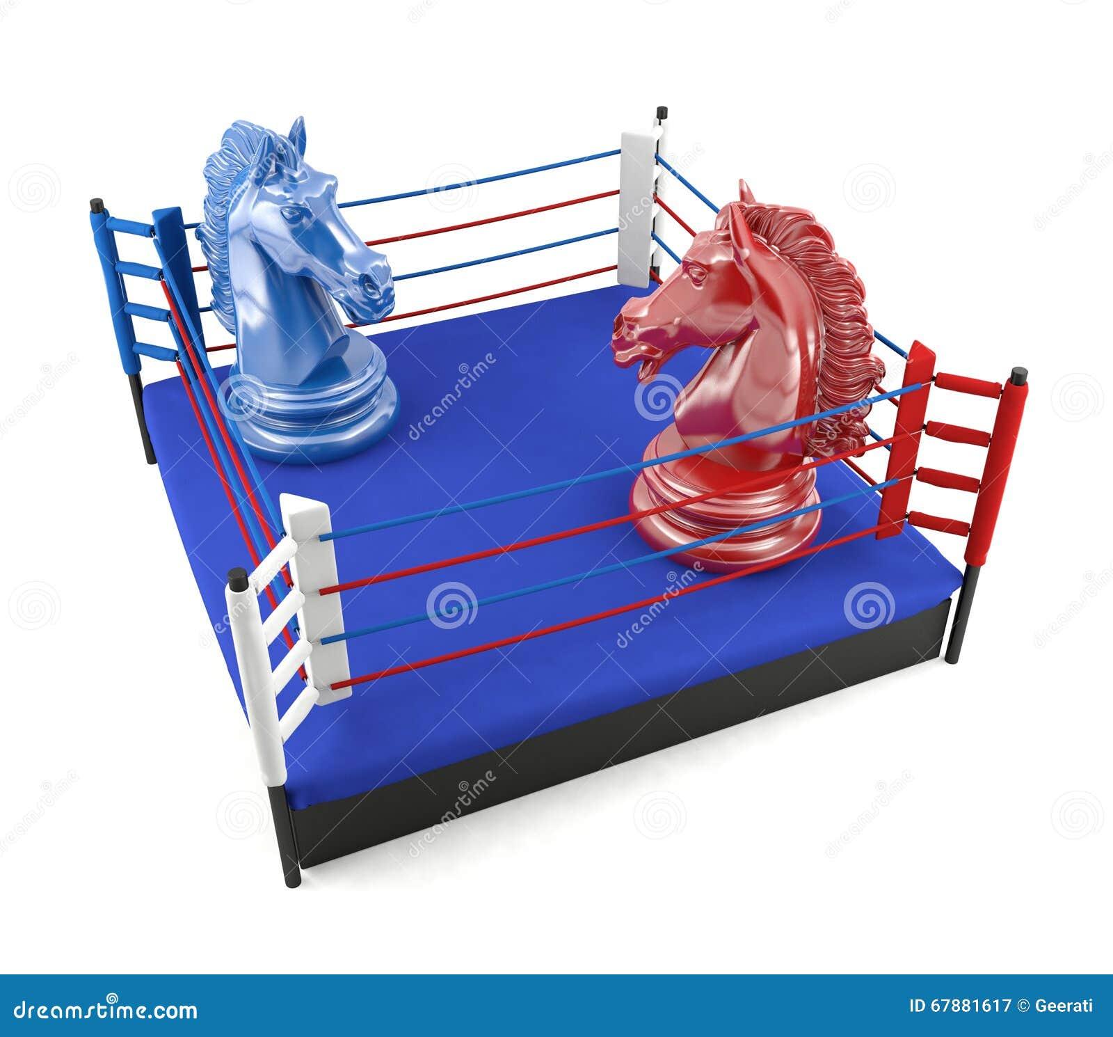 面对在拳击台的红色和蓝色棋骑士
