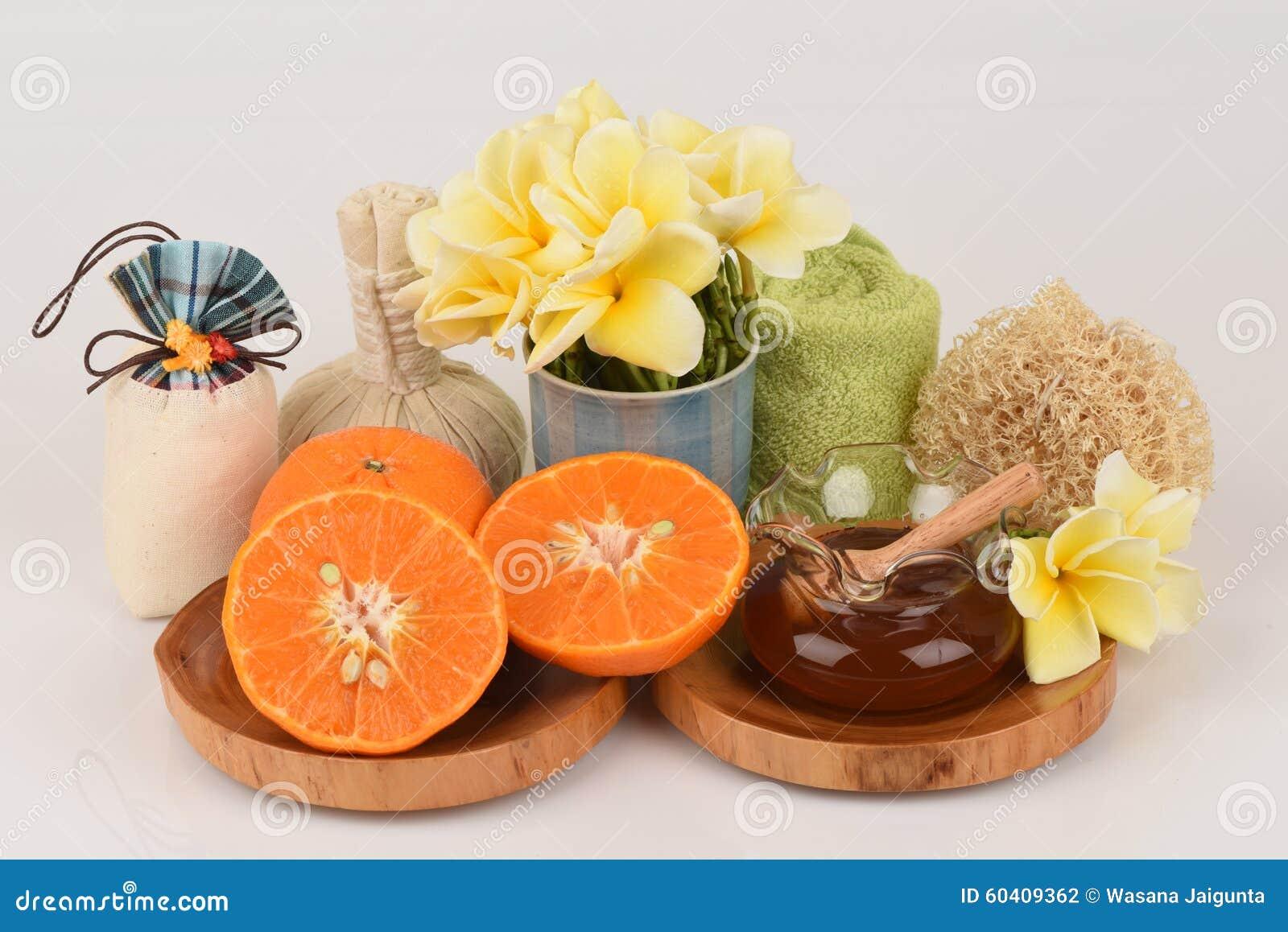 面罩用桔子和蜂蜜