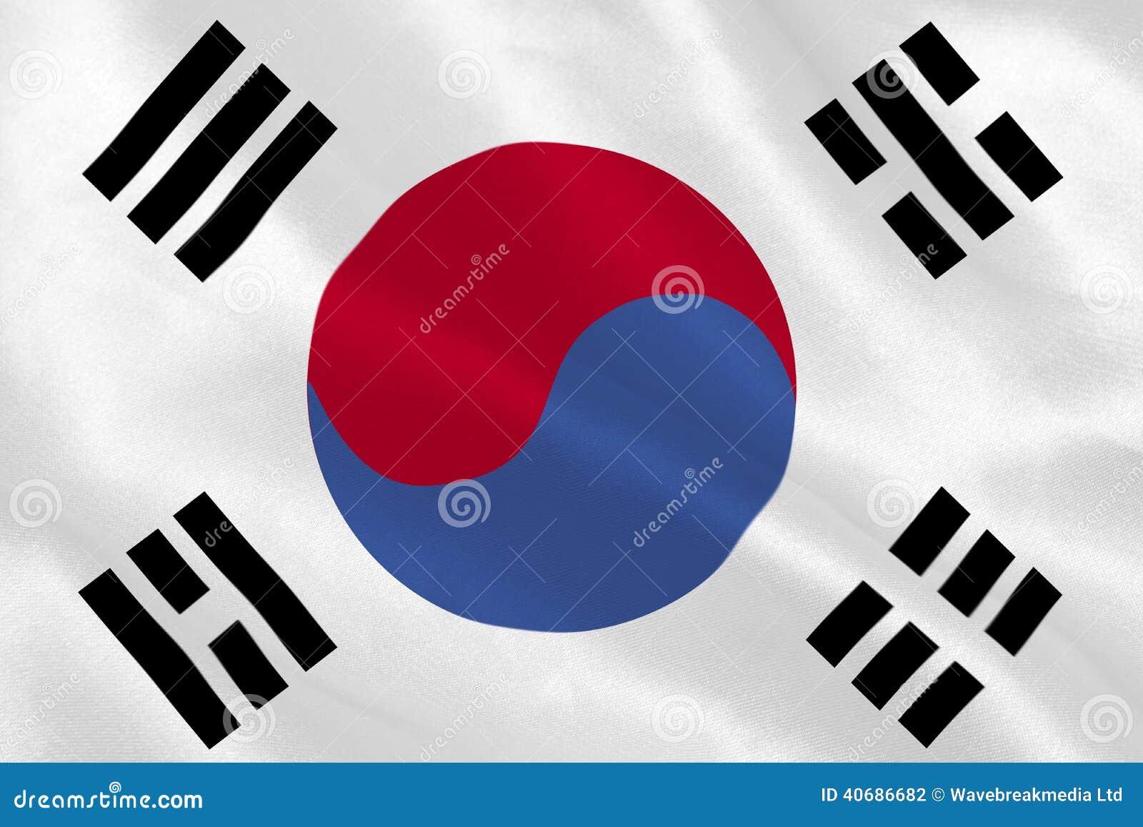 韩国共和国国旗起波纹.图片