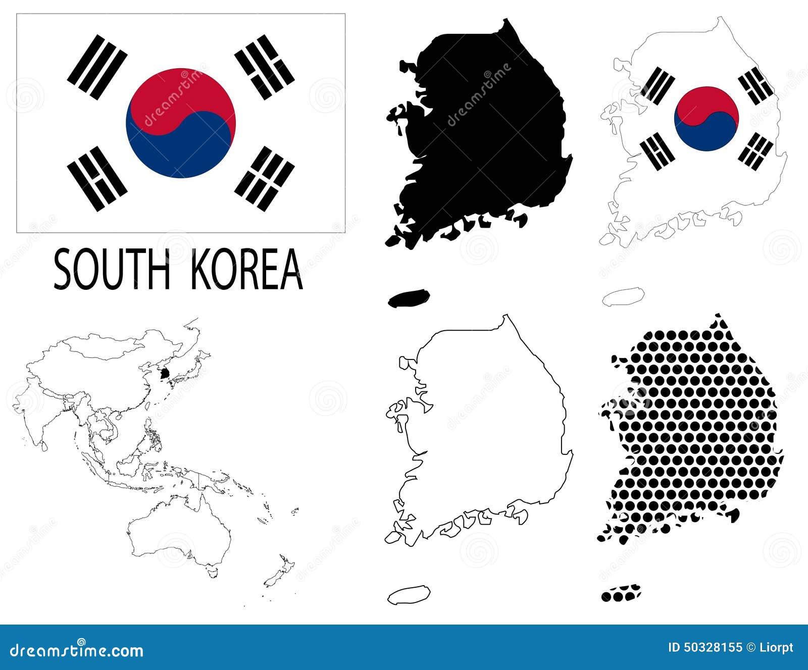 韩国-四个任意等高线图,国旗和亚洲地图传染媒介.图片