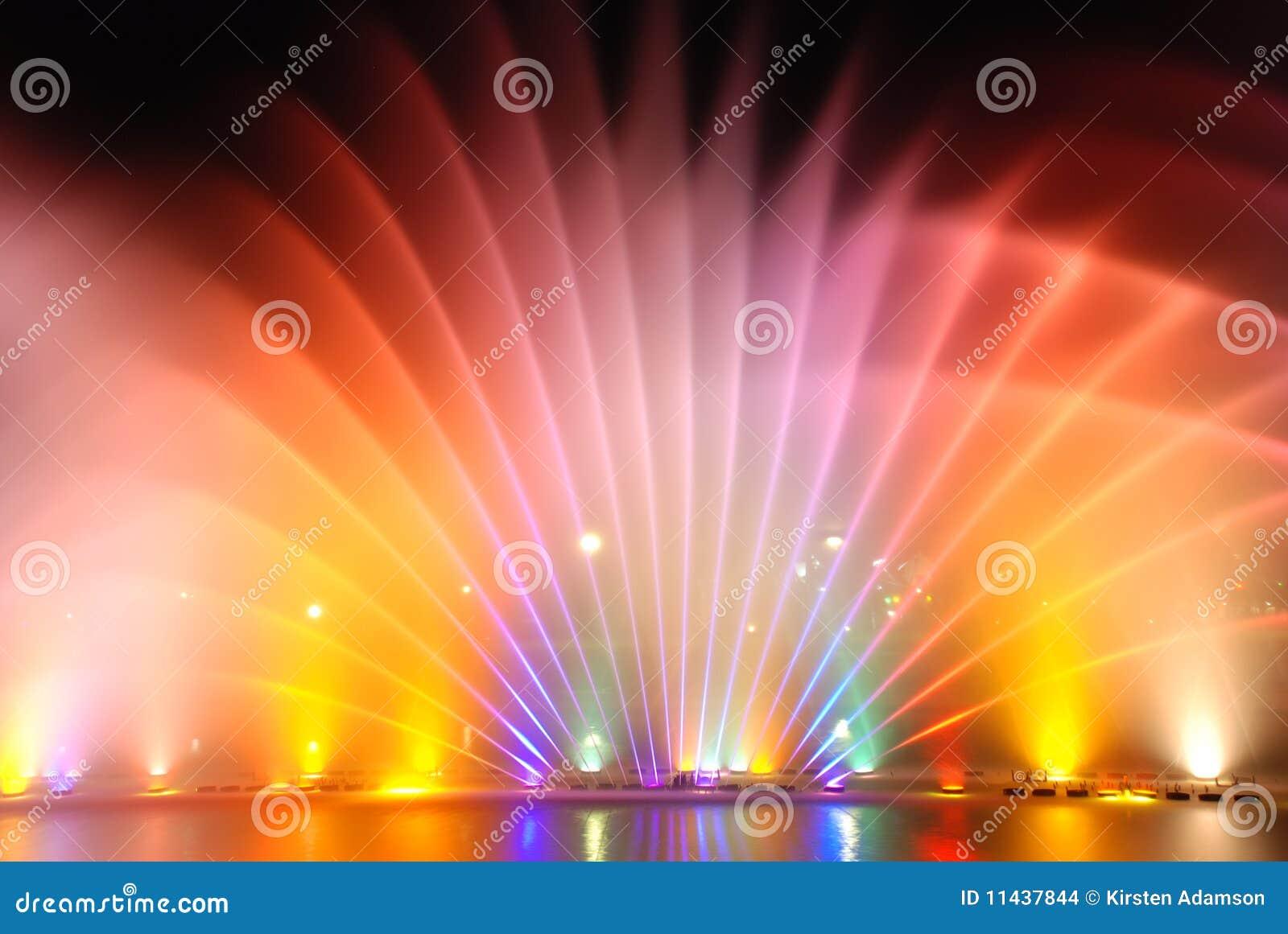 音乐五颜六色的喷泉