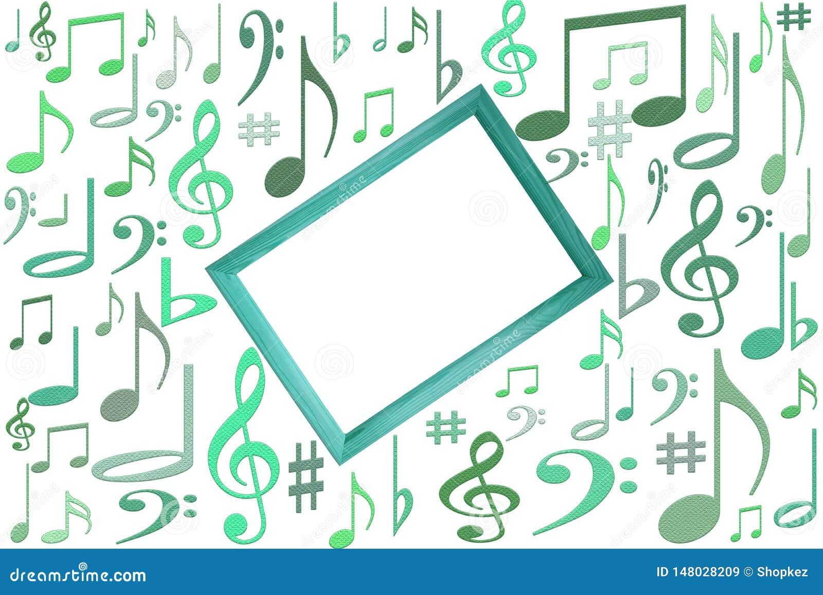 音乐在中心注意在白色背景的大模型与木制框架与自由vlank拷贝空间