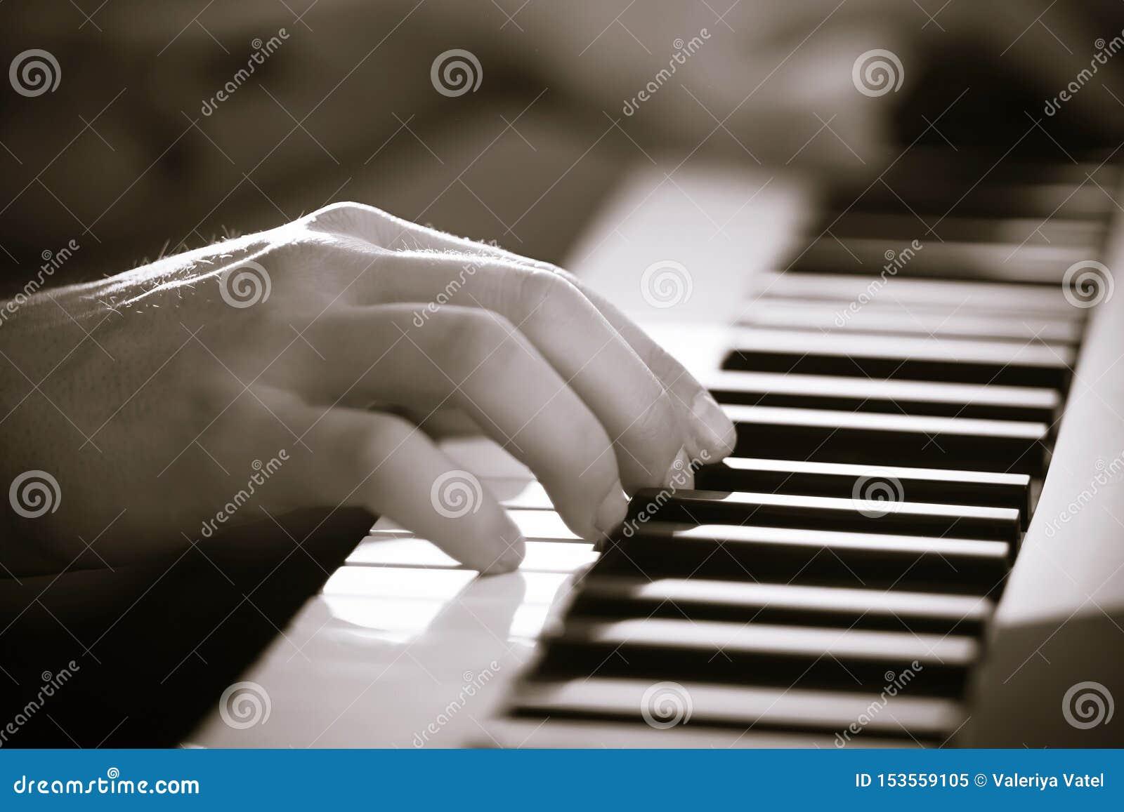 音乐家的手的黑白图象在合成器使用