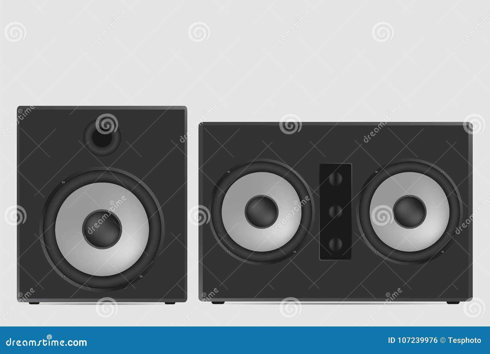 音乐报告人传染媒介例证 现代音响在白色ba