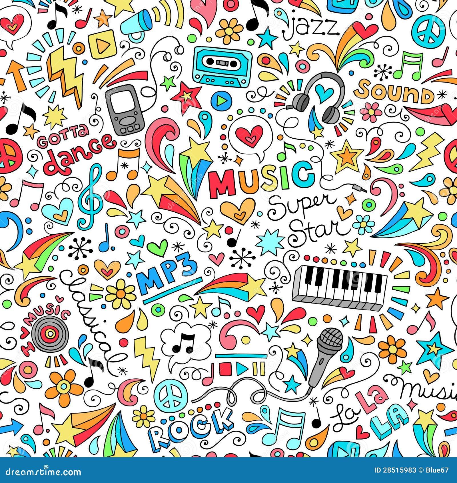 音乐无缝的样式笔记本乱画传染媒介不适