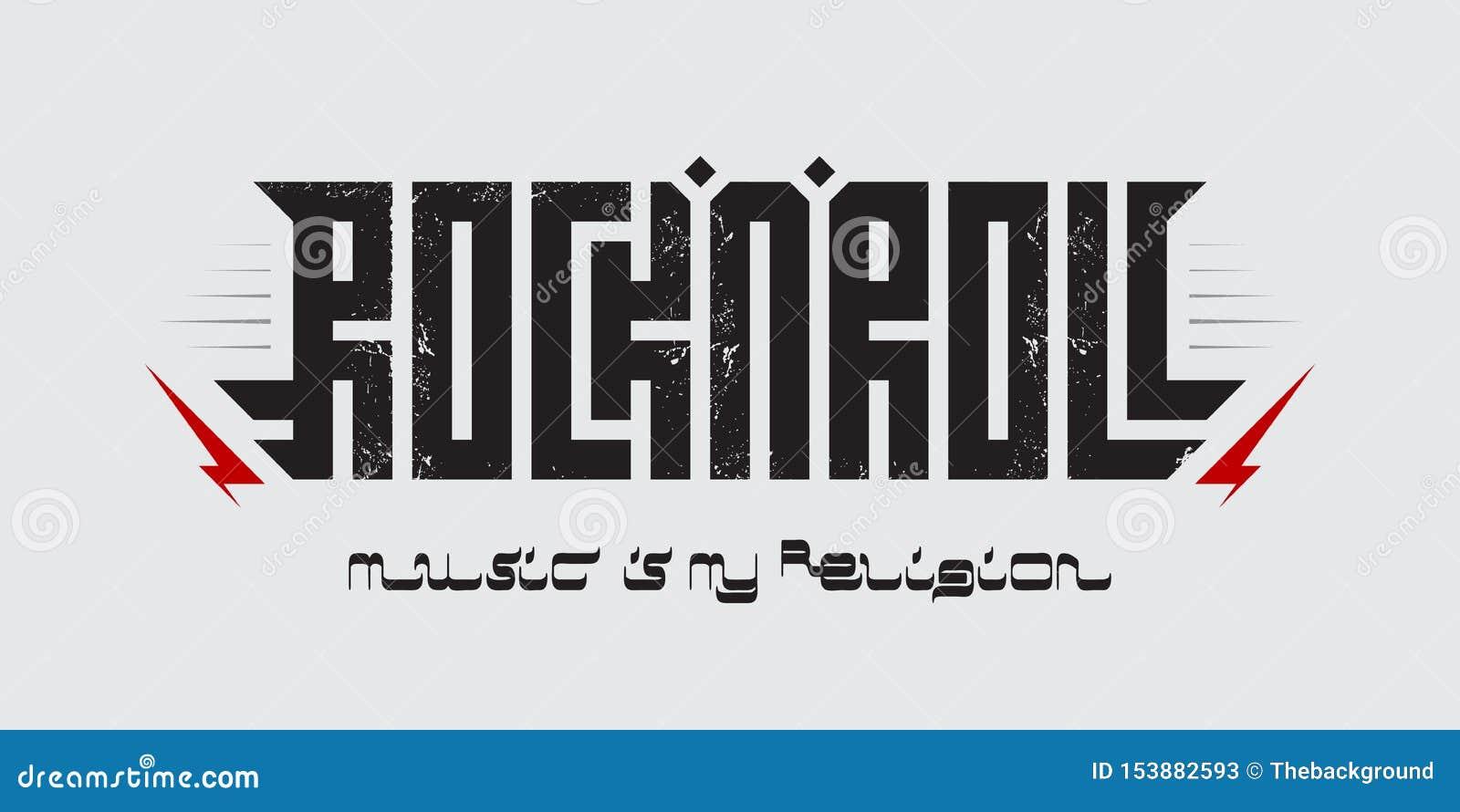 音乐是我的宗教- T恤杉服装打印,题字仿照阿拉伯剧本样式 摇滚乐-音乐海报与
