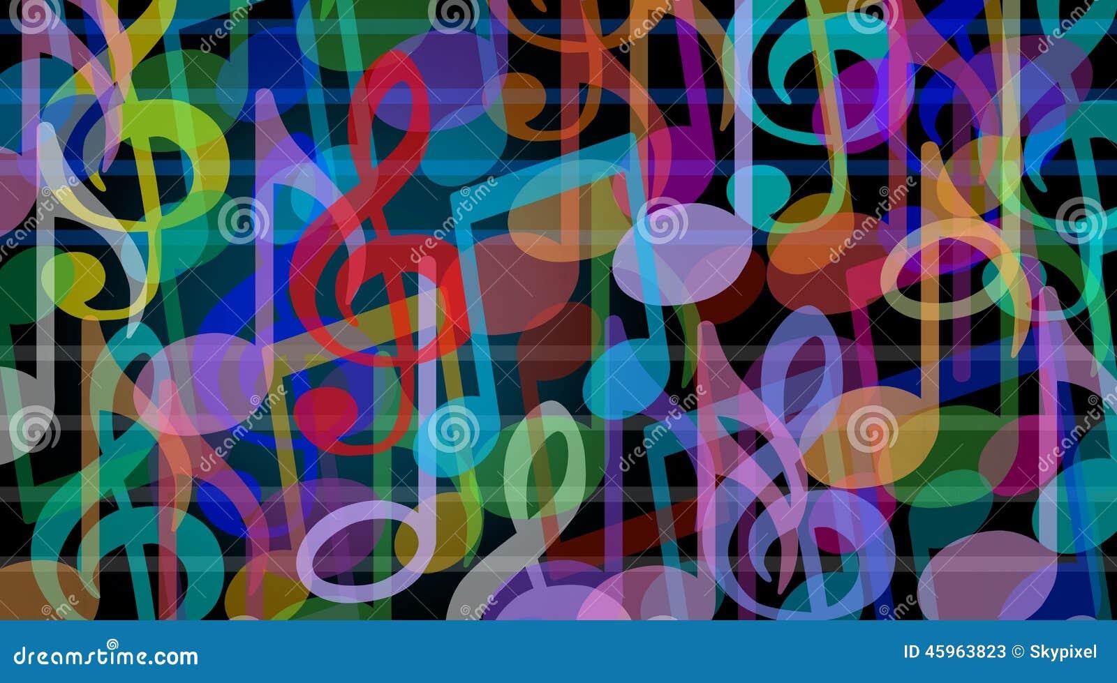 音乐背景和音乐艺术标志作为一个小组曲调笔记在音频和谐概念一起图片