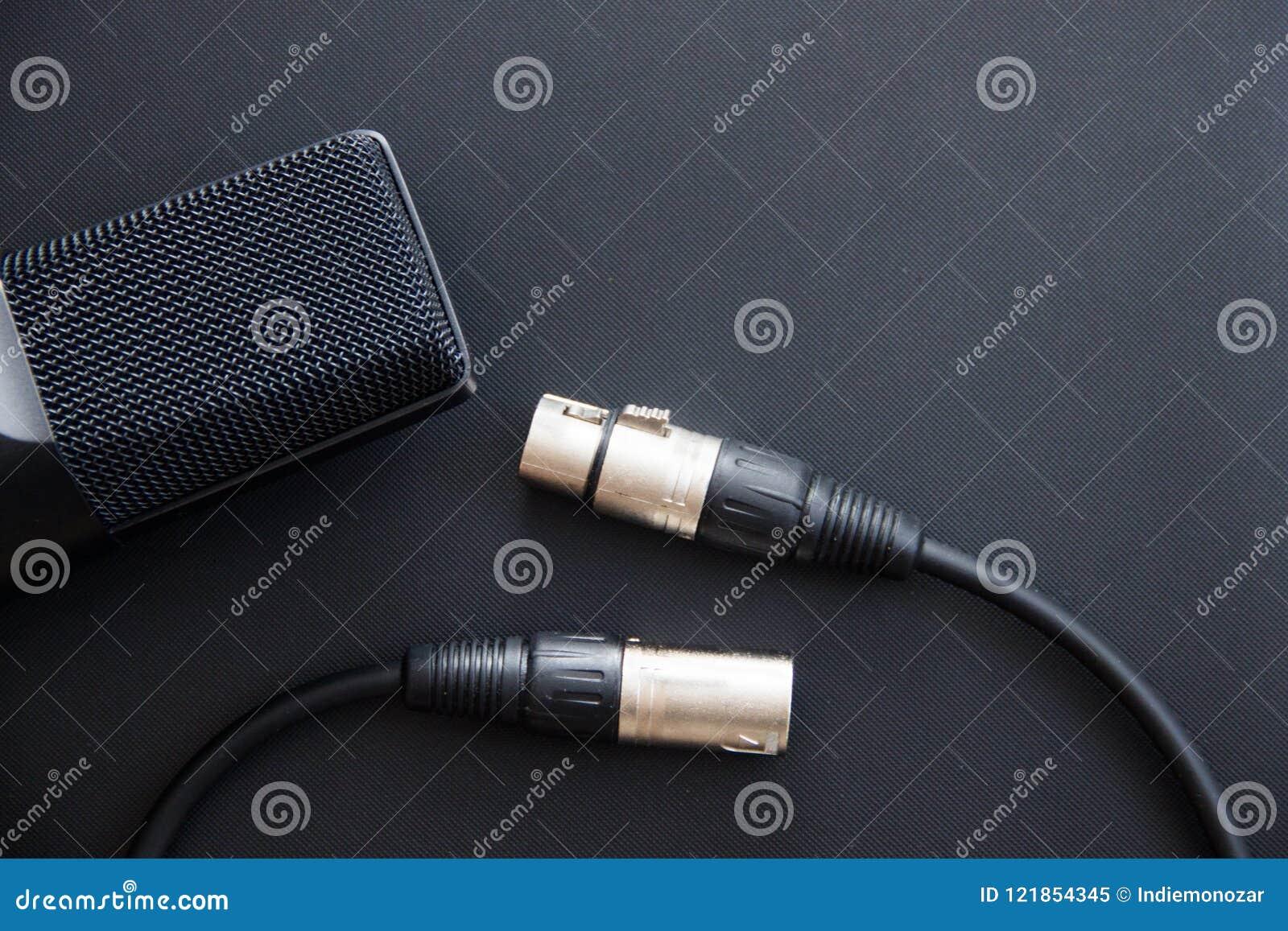 音乐设备,有xlr缆绳的,暗色专业冷凝器演播室话筒 从上面关闭