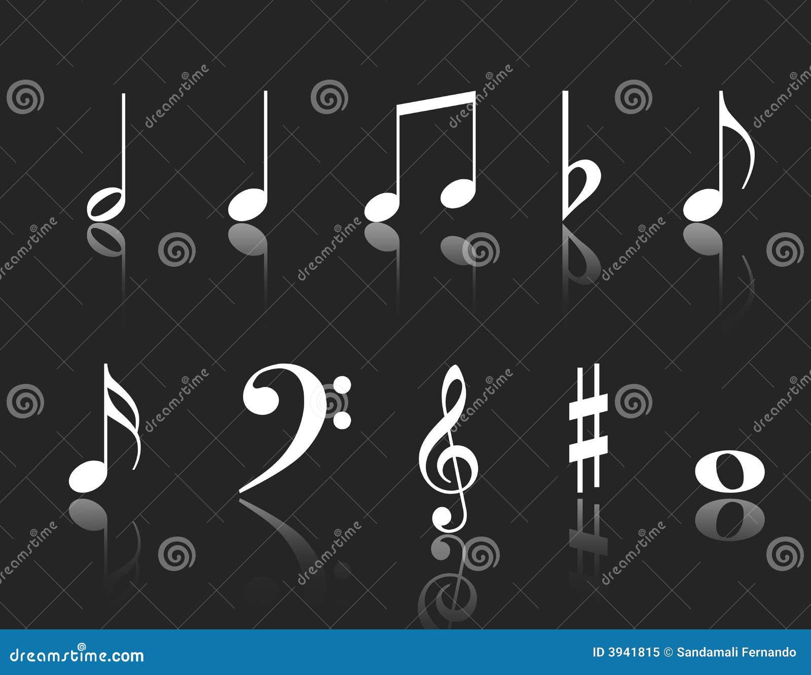 背景黑色查出的音乐注意空白的符号.