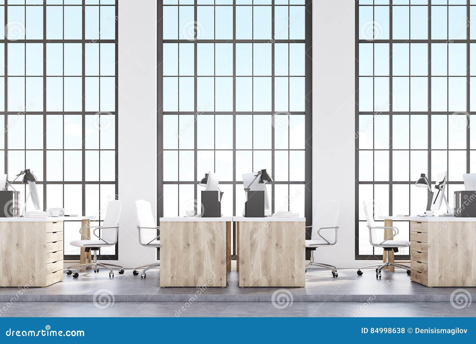 顶楼办公室,木家具侧视图