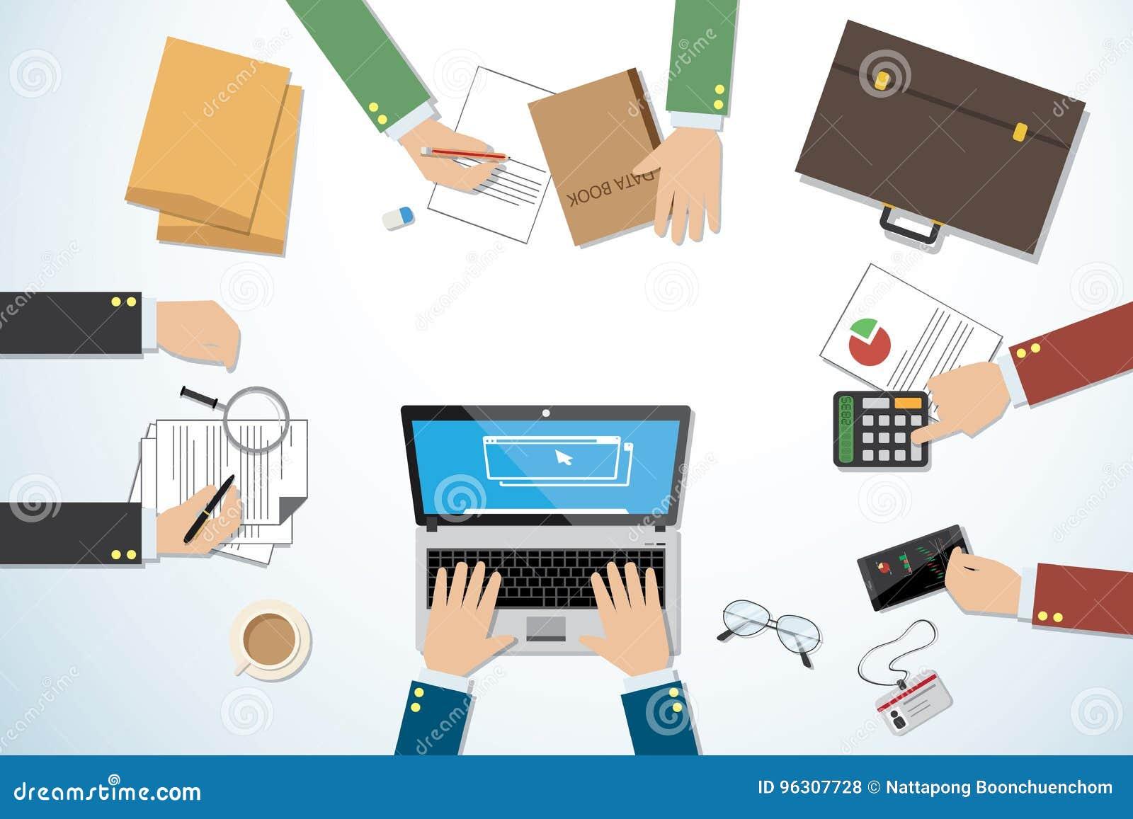顶视图企业书桌用手和工具、配合和企业概念