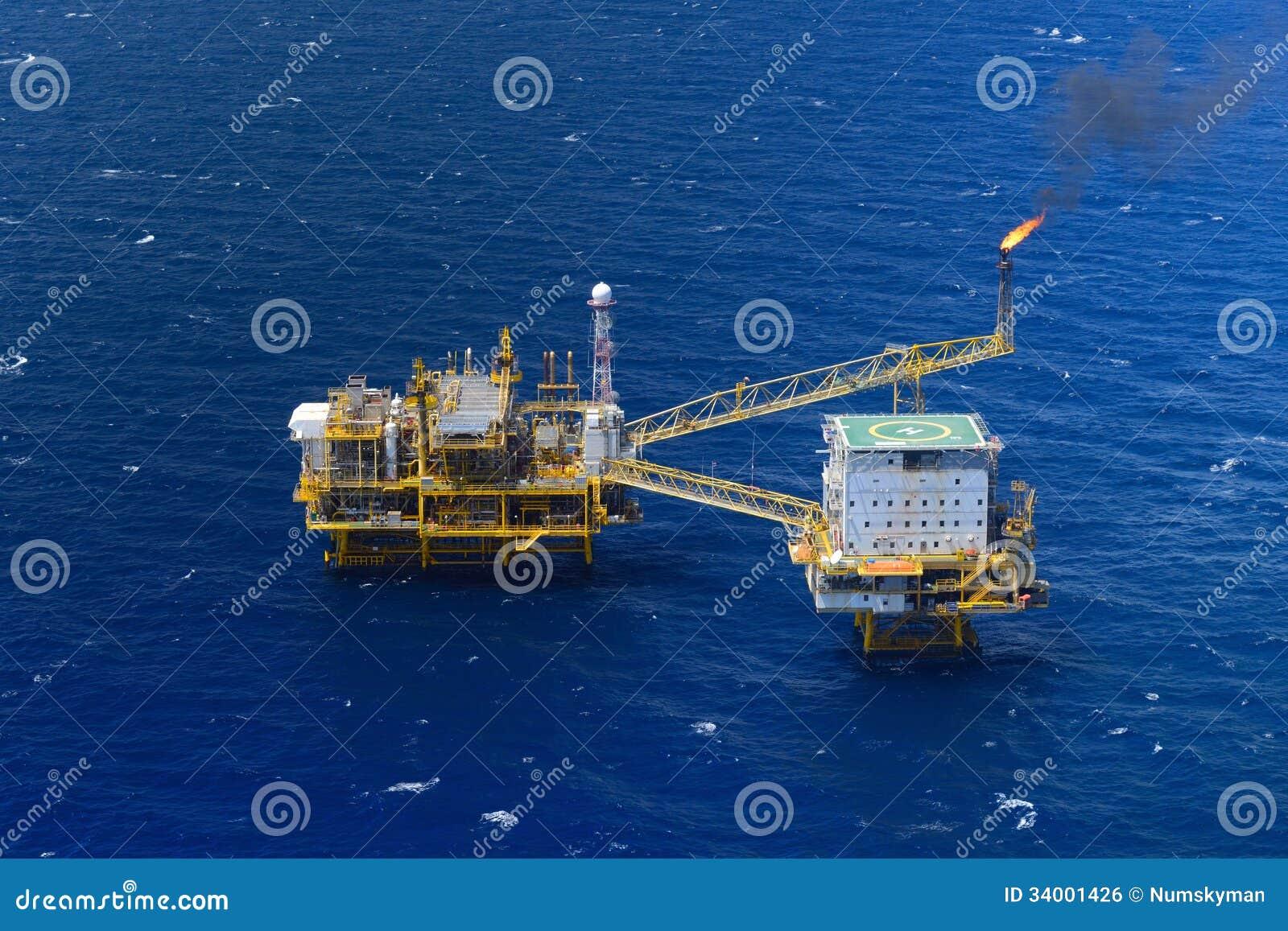 顶视图近海抽油装置平台