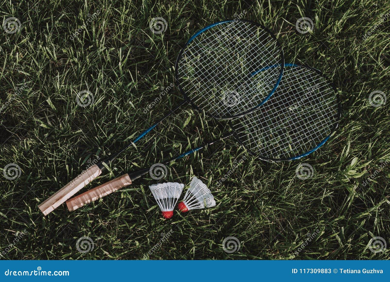 顶视图 有一次飞行的羽毛球拍在草