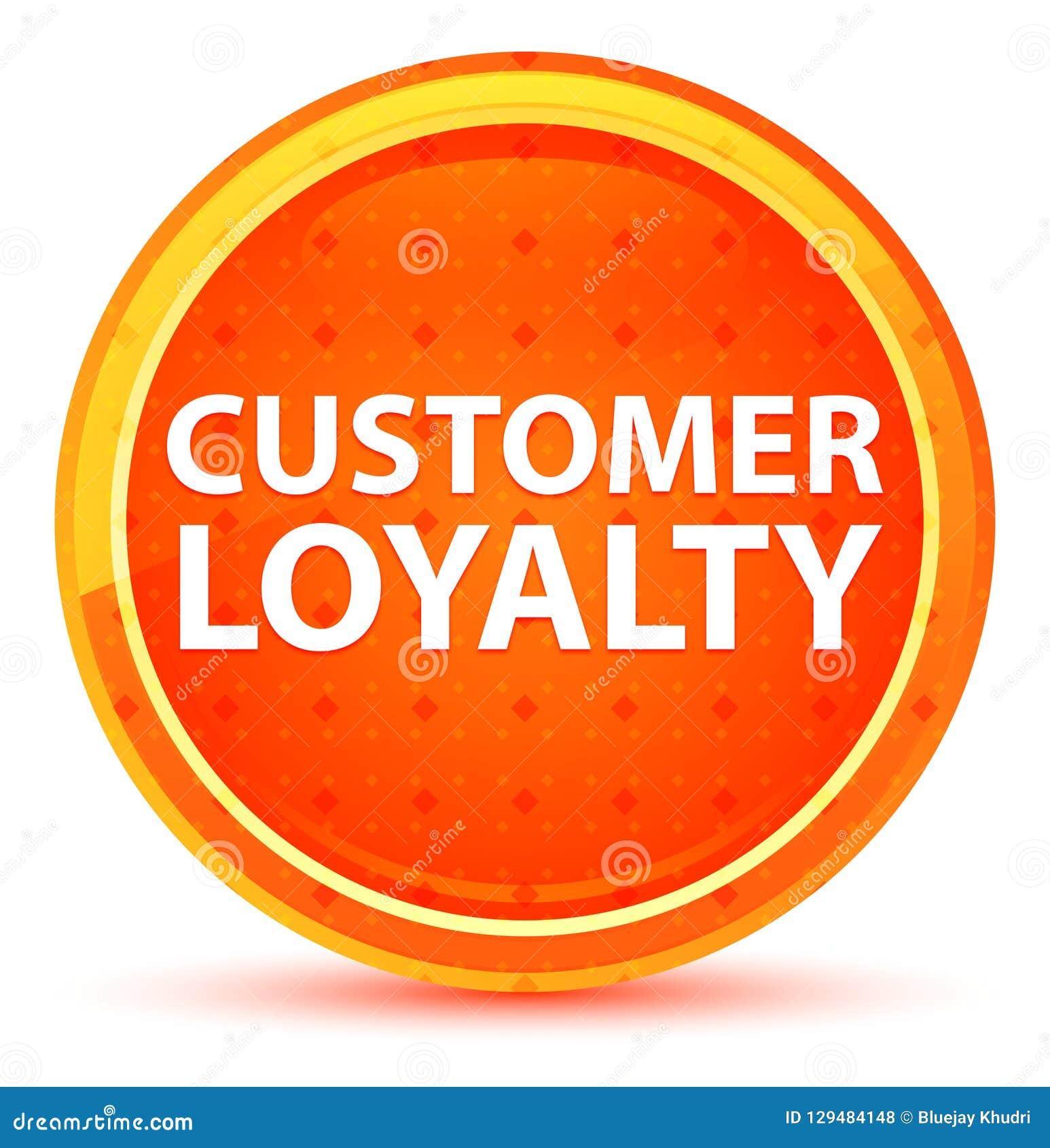 顾客忠诚自然橙色圆的按钮