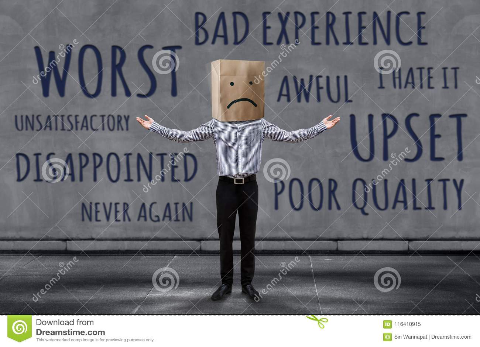 顾客经验概念,不快乐的商人客户以哀伤