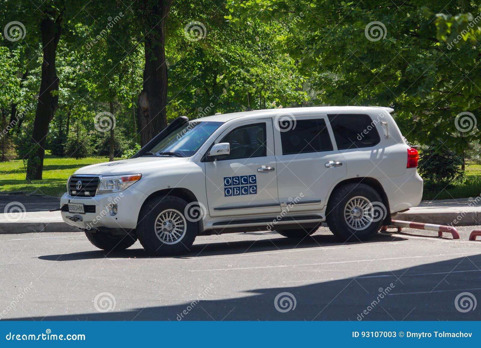 顿涅茨克,乌克兰- 2017年5月17日:OSCE使命workin的Ð ¡ ar