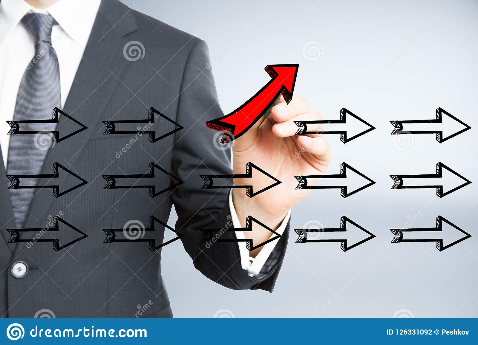 领导、另外方向和成功概念