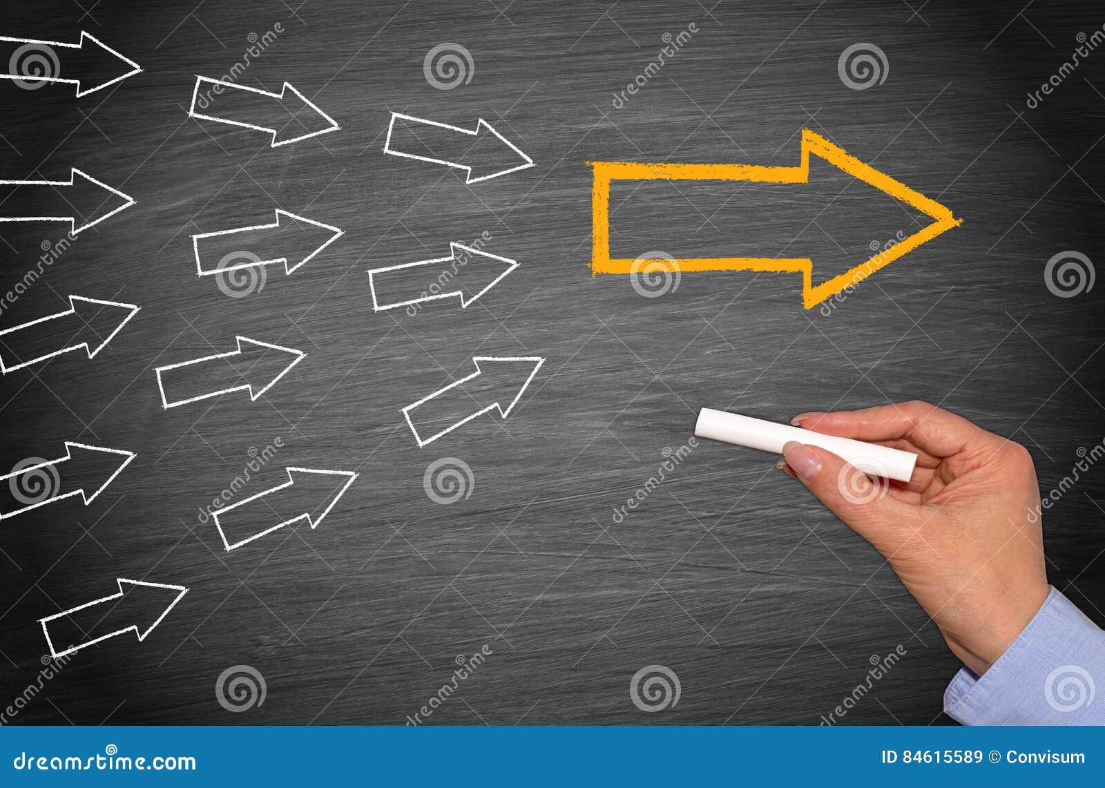 领导和追随者黑板有箭头的