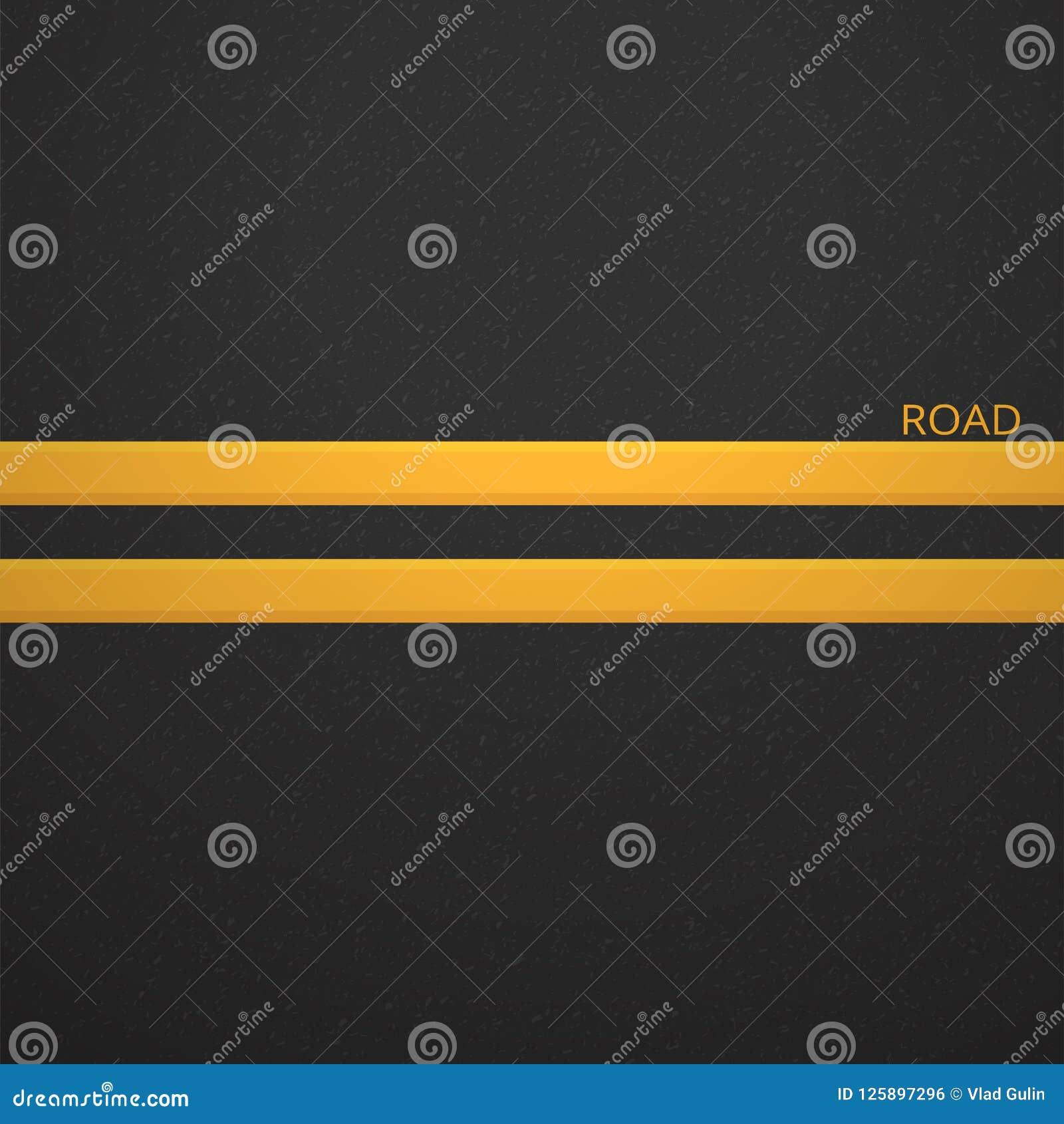 颗粒状沥青结构  与沥青纹理的路背景 涂柏油与两黄线路标的纹理