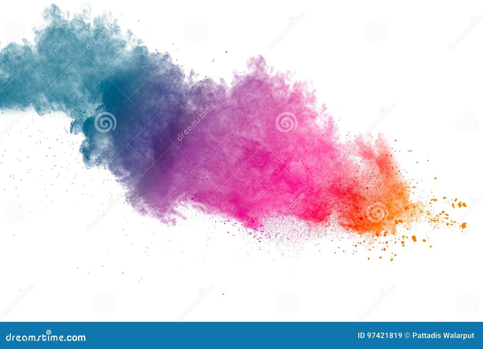 颜色在白色背景的粉末爆炸