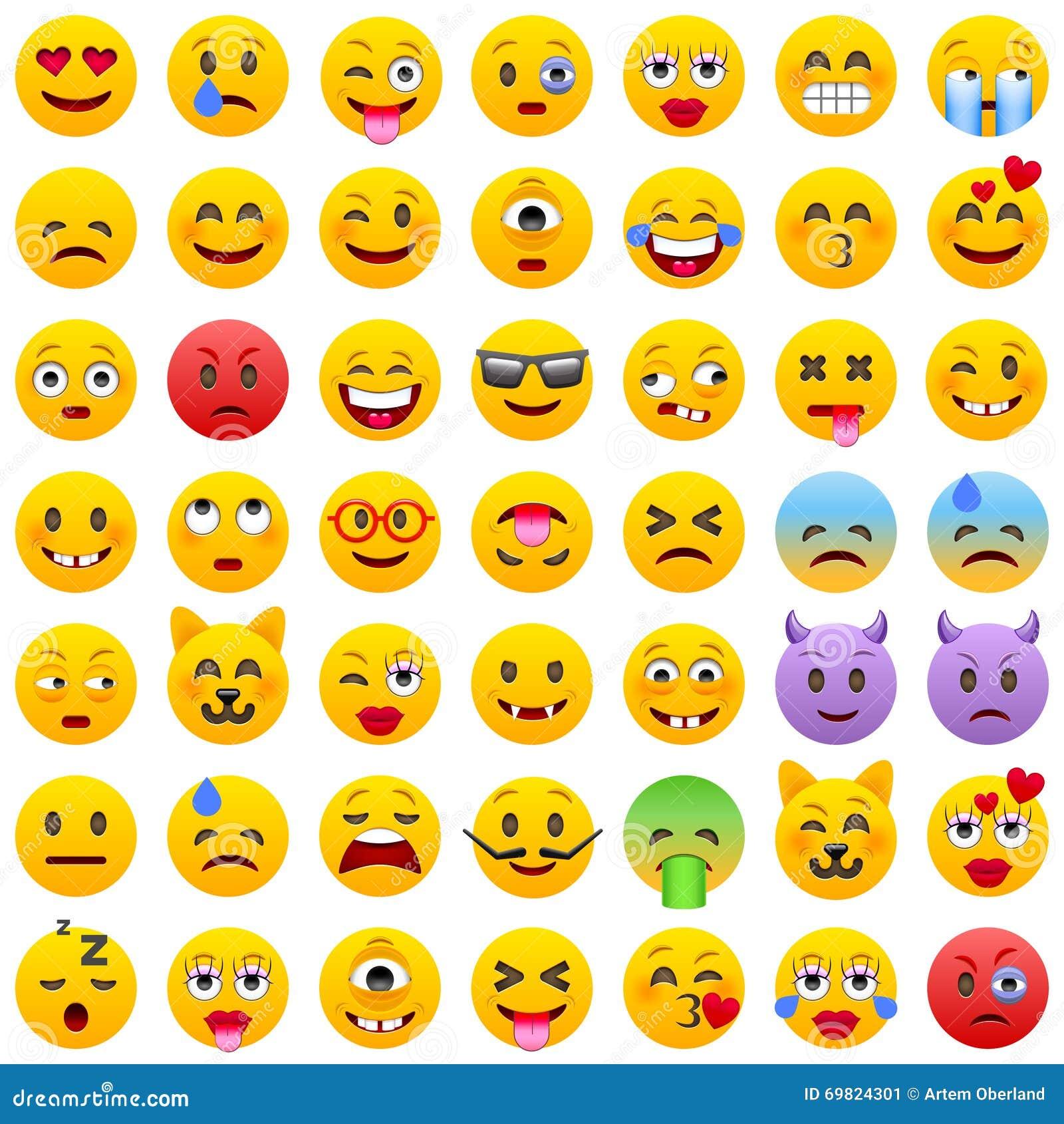 颜色容易的编辑可能的意思号例证集合向量 套Emoji 微笑象 在白色背景的被隔绝的传染媒介例证