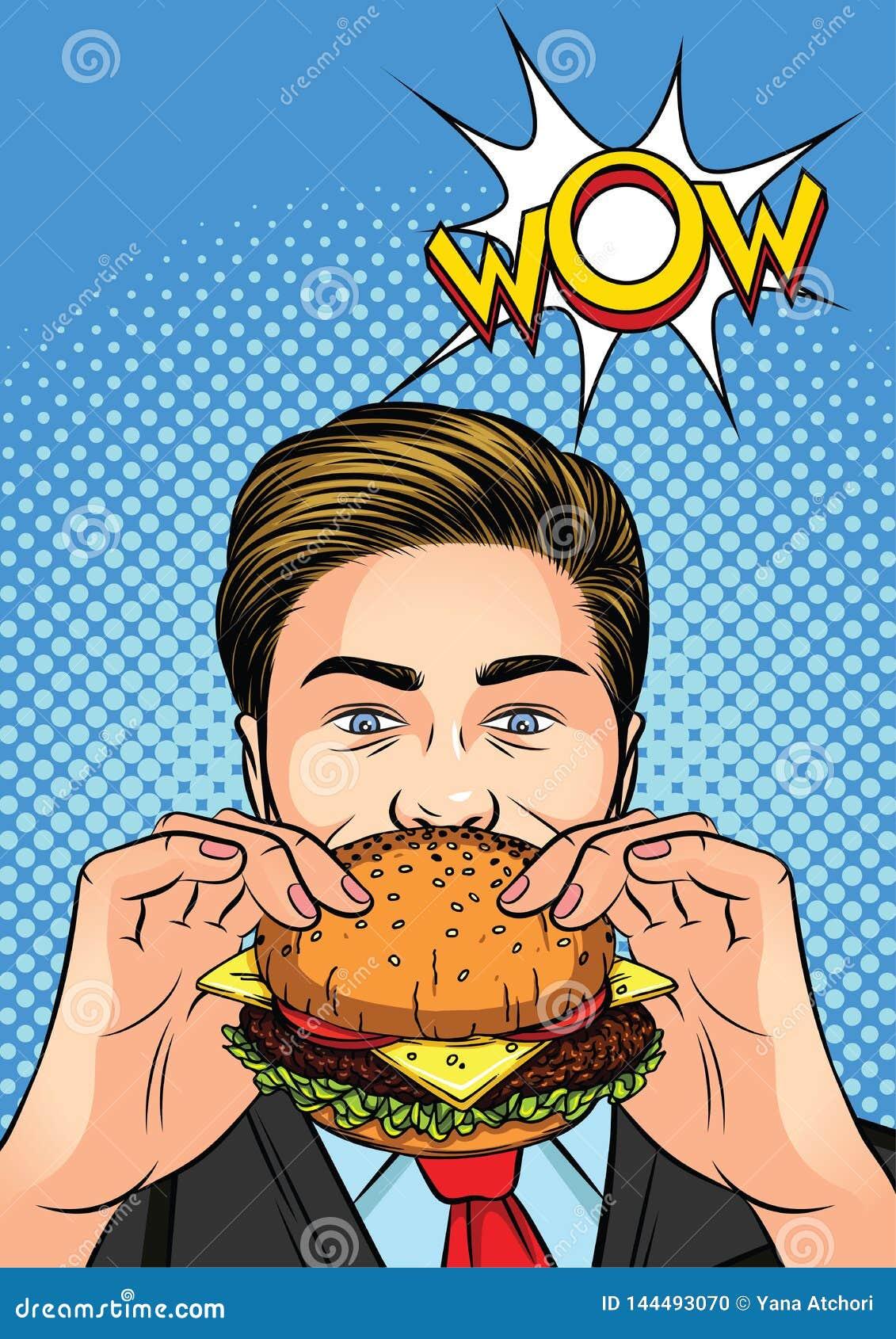 颜色食人的流行艺术的传染媒介例证汉堡