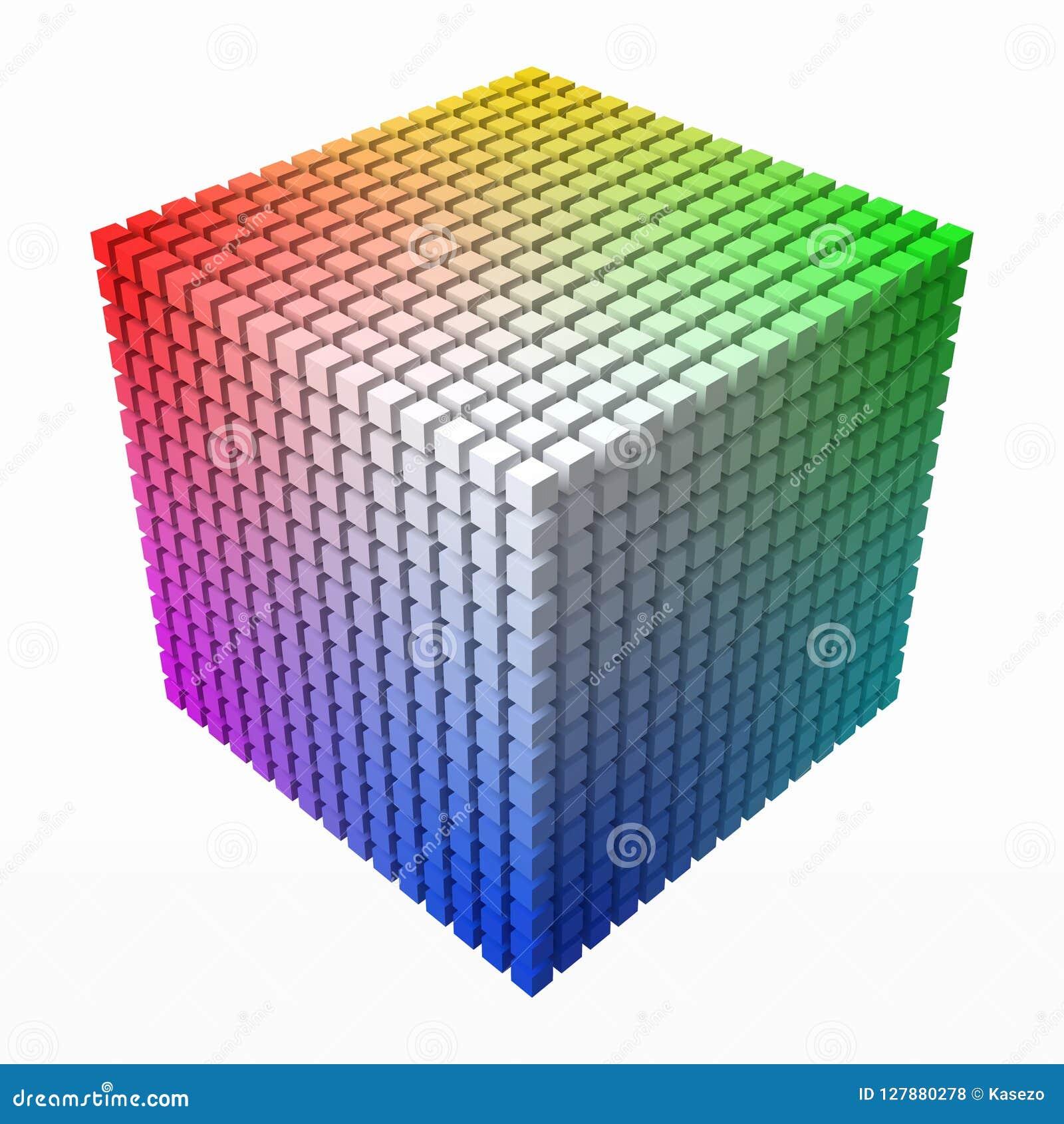 额外小立方体做在大立方体形状的颜色梯度  3d样式传染媒介例证