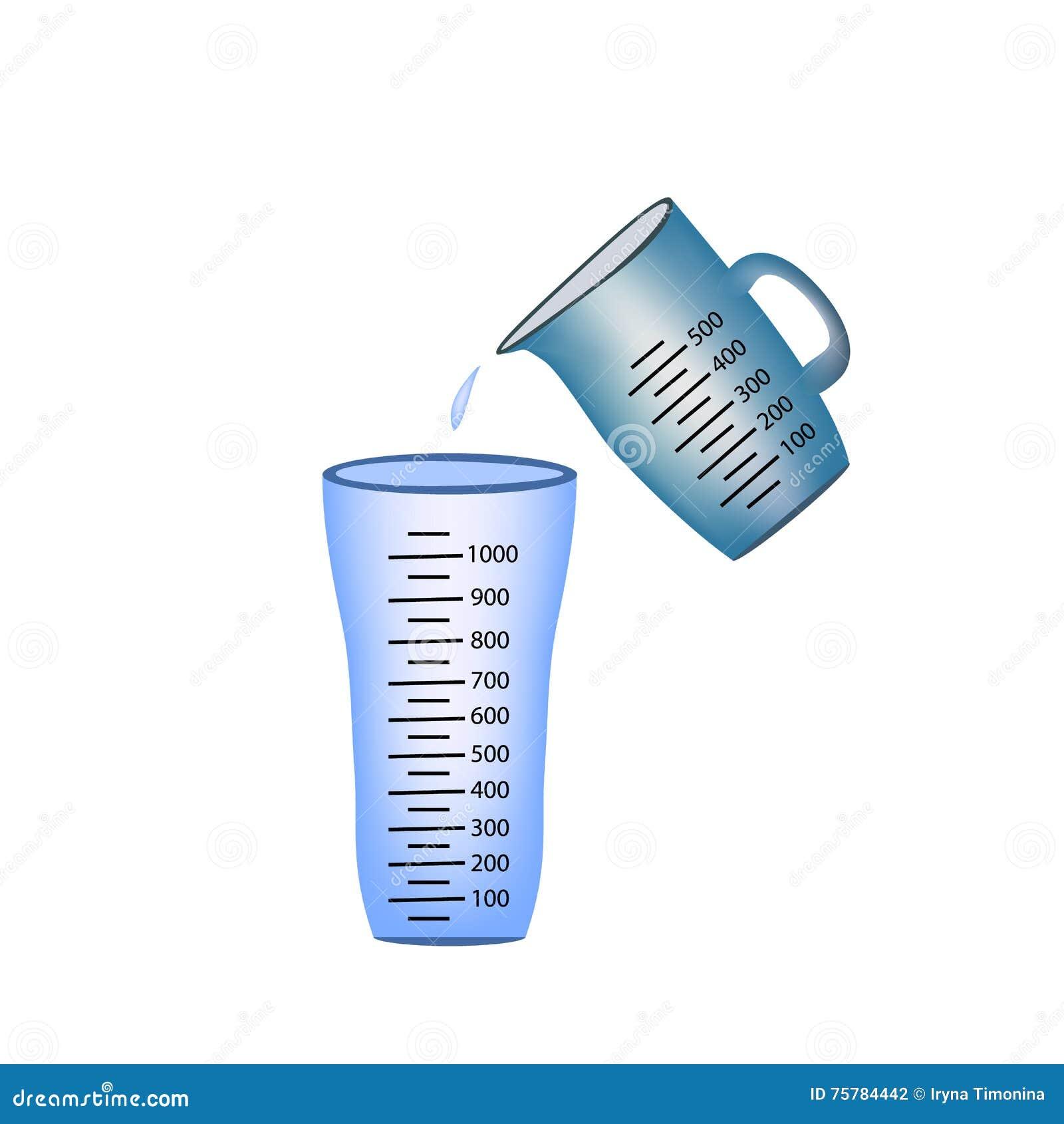 额嘴 杯子查出的评定 倾吐测量的水到玻璃里 在背景的传染媒介例证