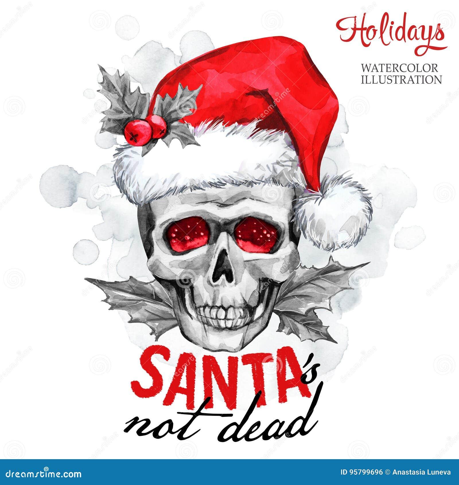 额嘴装饰飞行例证图象其纸部分燕子水彩 冬天卡片 在圣诞老人帽子的手画妖怪头骨 词圣诞老人不是死的 圣诞节,新