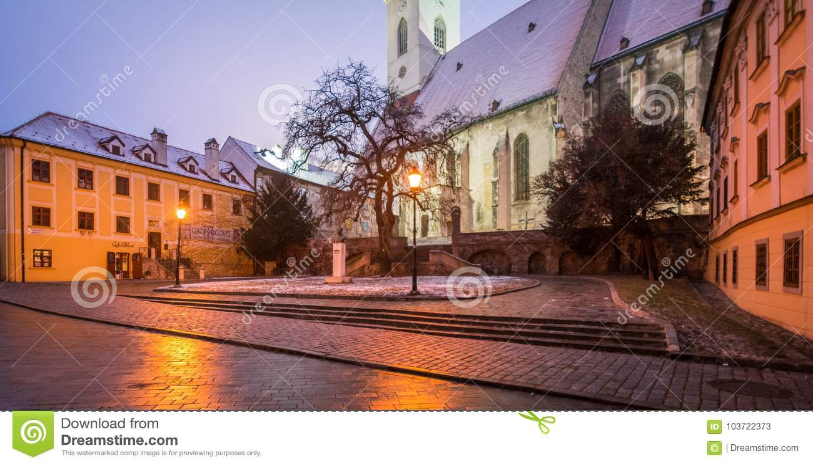 风景夜冬天视图在布拉索夫,斯洛伐克