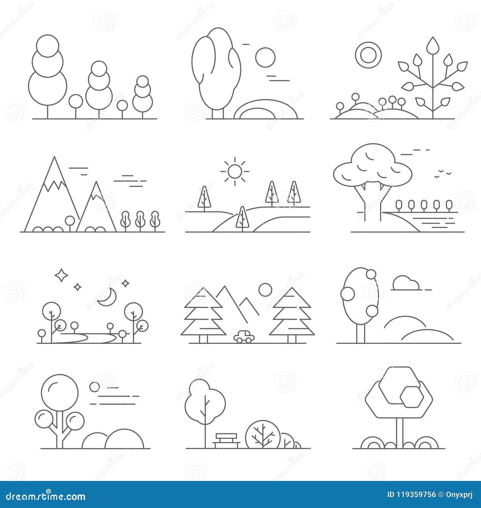 风景概述 单音线树和室外公园标志