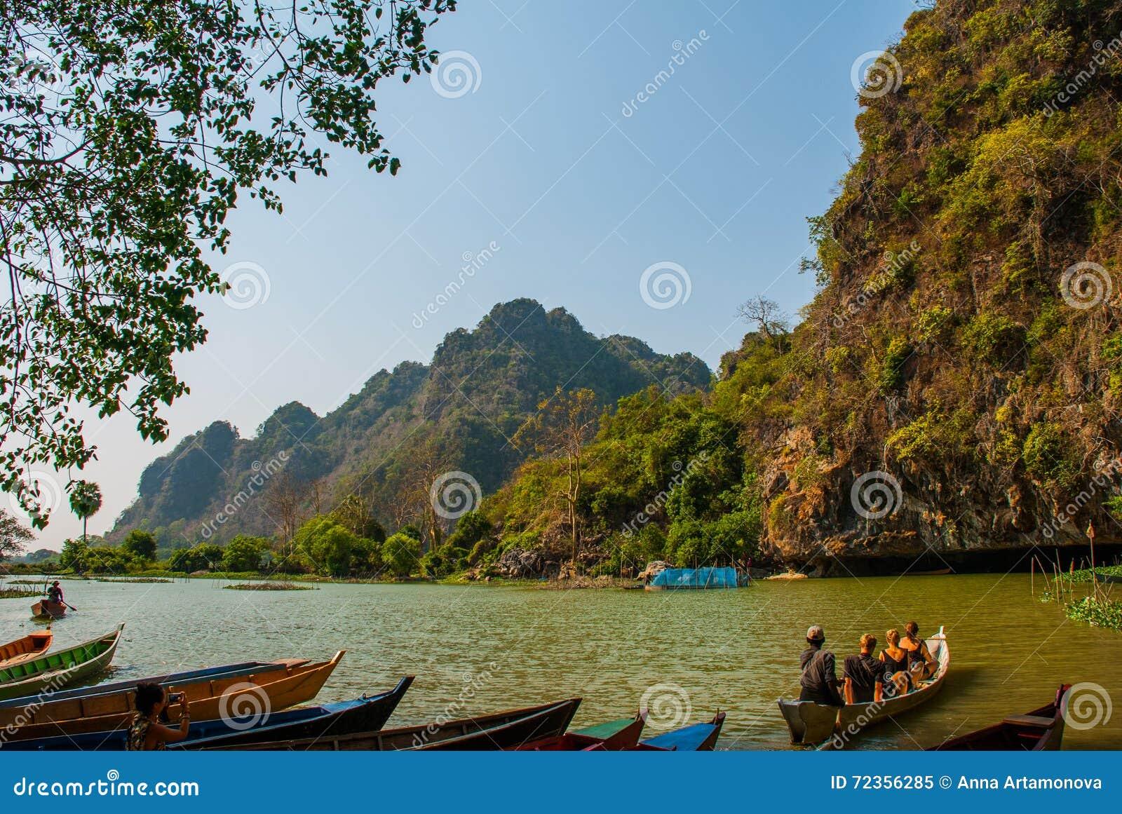 风景的看法与小船的 Hpa-An,缅甸 缅甸