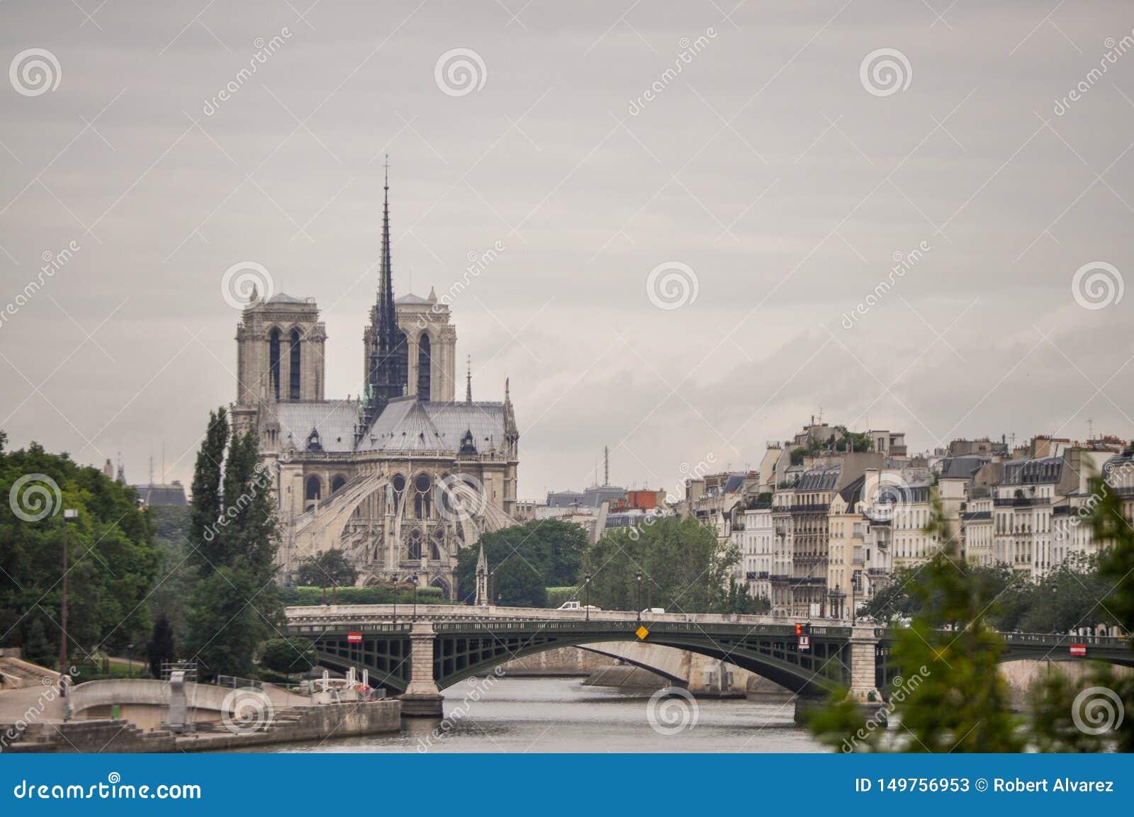 风景视图巴黎圣母院在巴黎,法国
