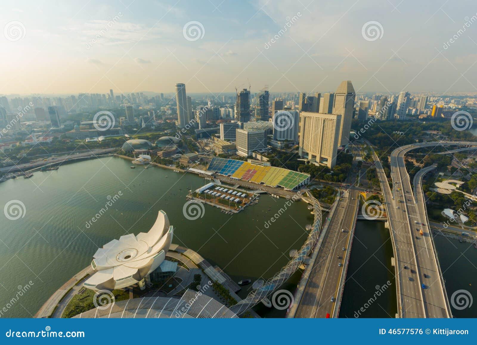 风景高视图港口前面在新加坡 编辑类照片图片