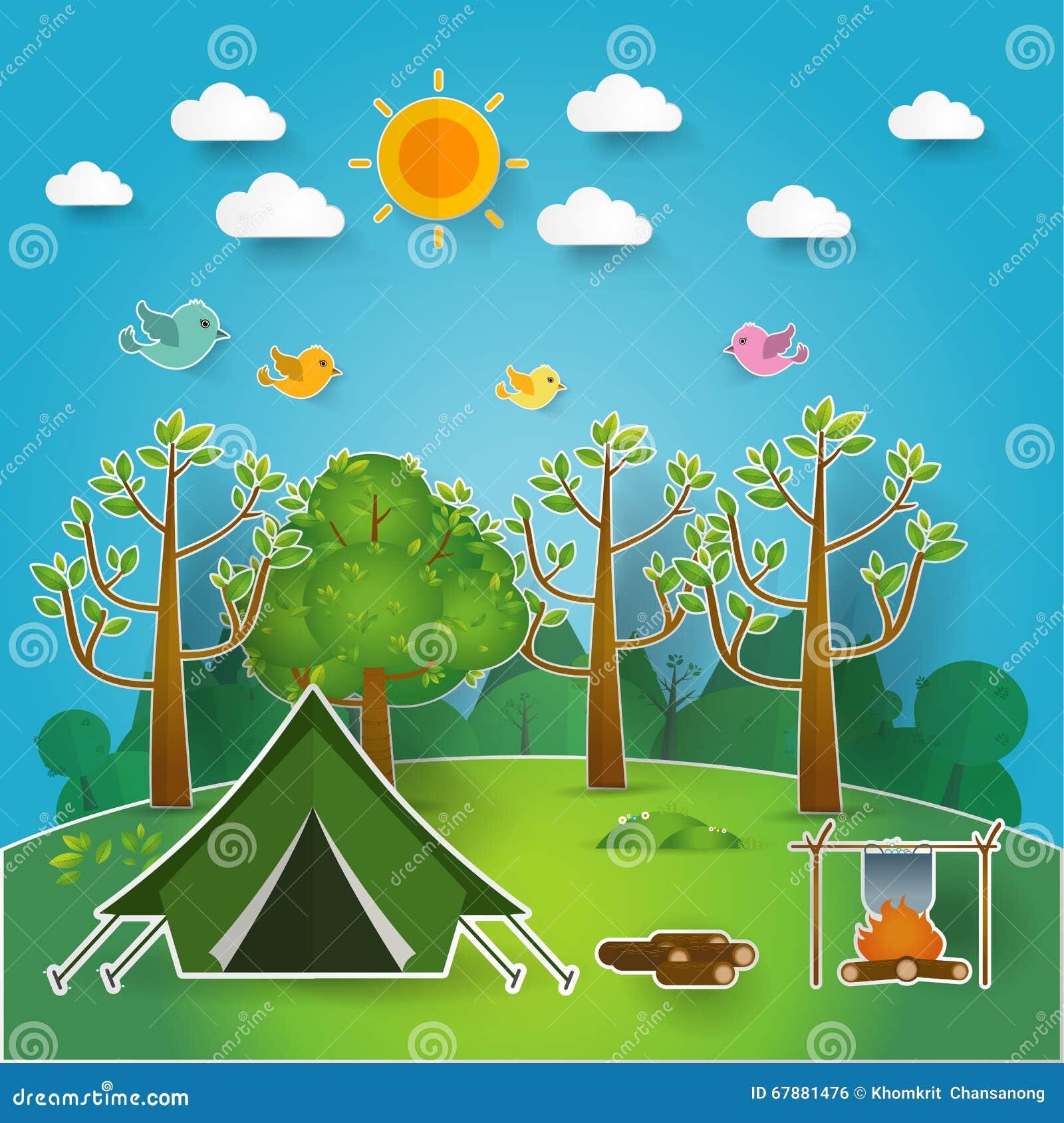 风景 远足和野营 也corel凹道例证向量