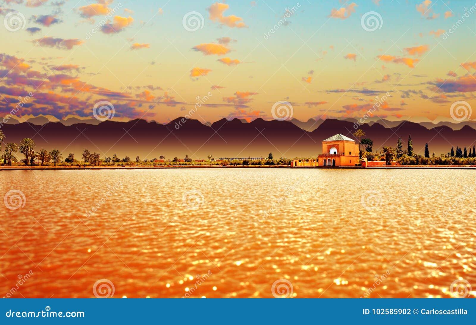 风景Menara庭院 旅行向摩洛哥 马拉喀什