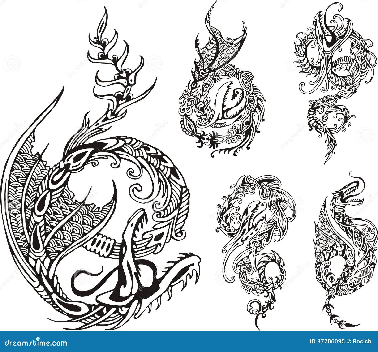 风格化龙纹身花刺.套黑白传染媒介例证.图片