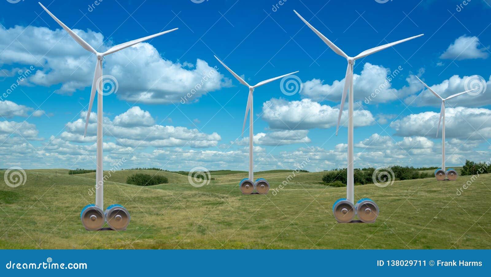风轮机在有巨大的电池的美丽的乡下