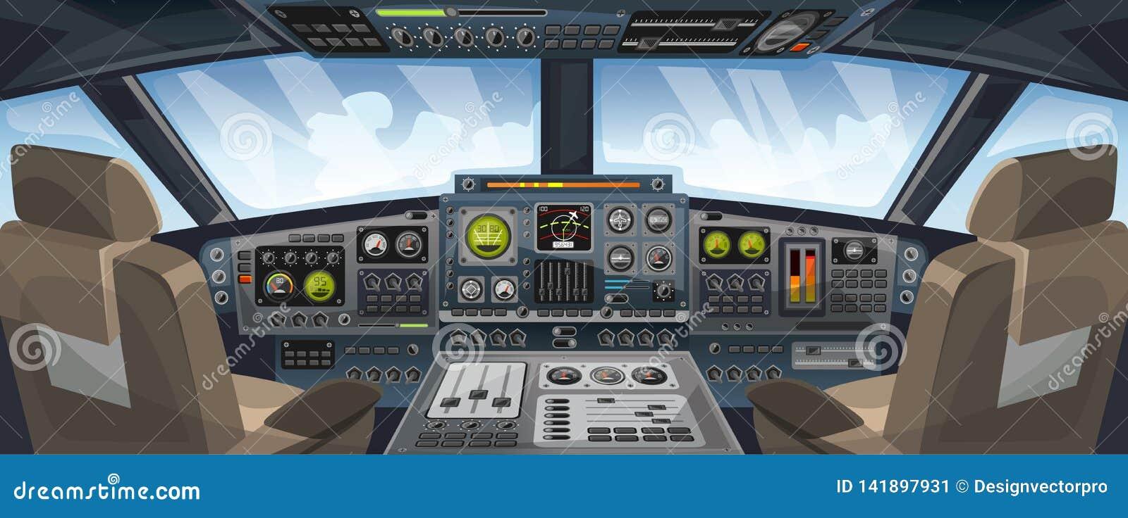 飞机与控制板按钮和天空背景的驾驶舱视图在窗口视图 飞机与仪表板控制的飞行员客舱